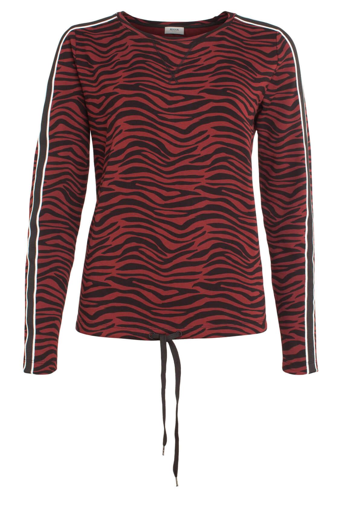 Anna Blue Dames Shirt met zebraprint Rood