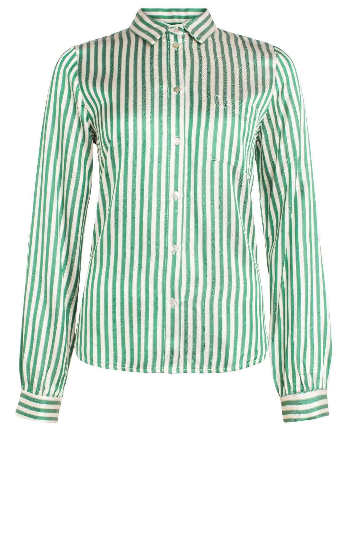 By-Bar Dames Zoe gestreepte blouse groen