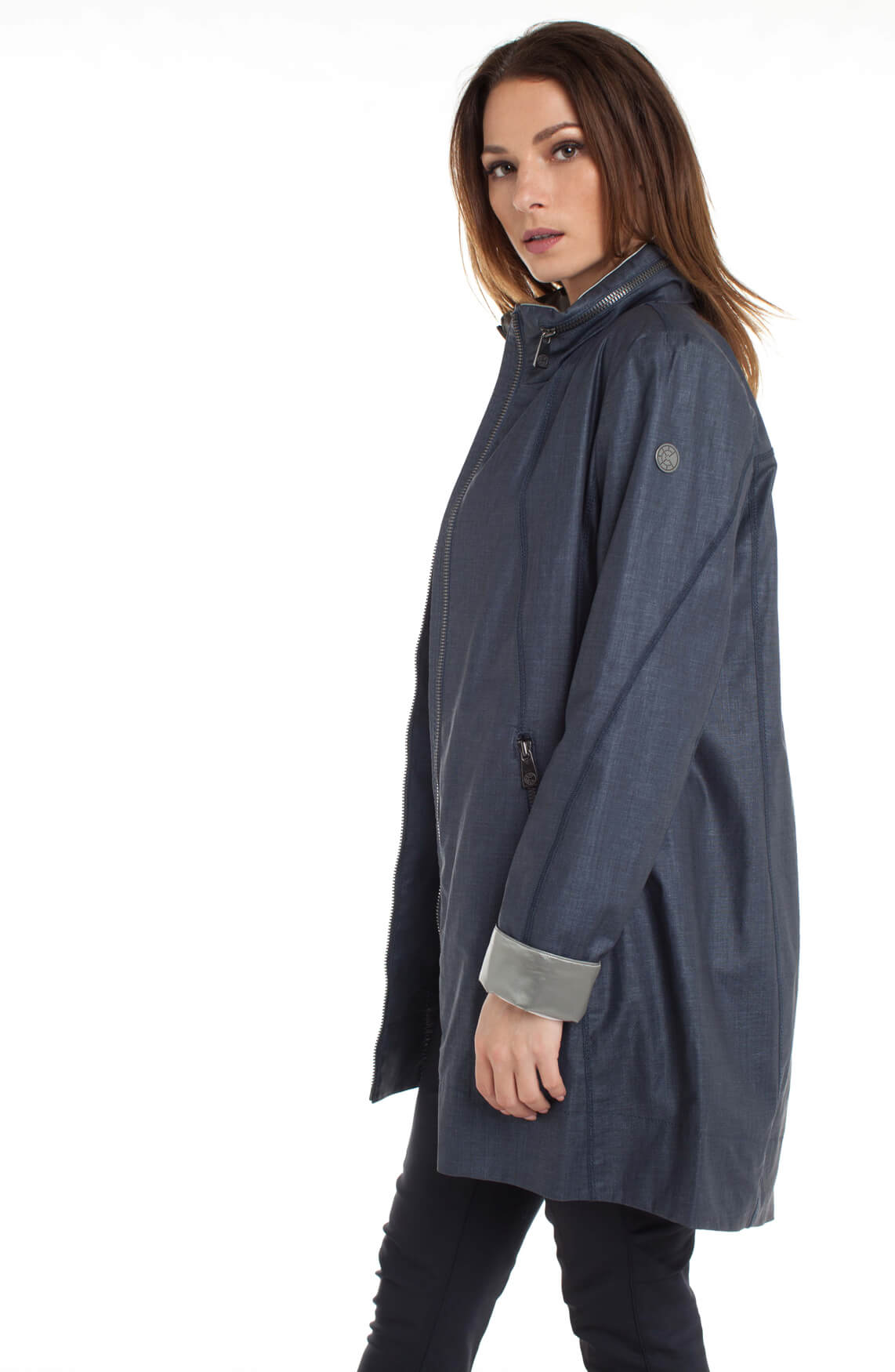 Creenstone Dames Jas met contrasterende stof Blauw | Anna