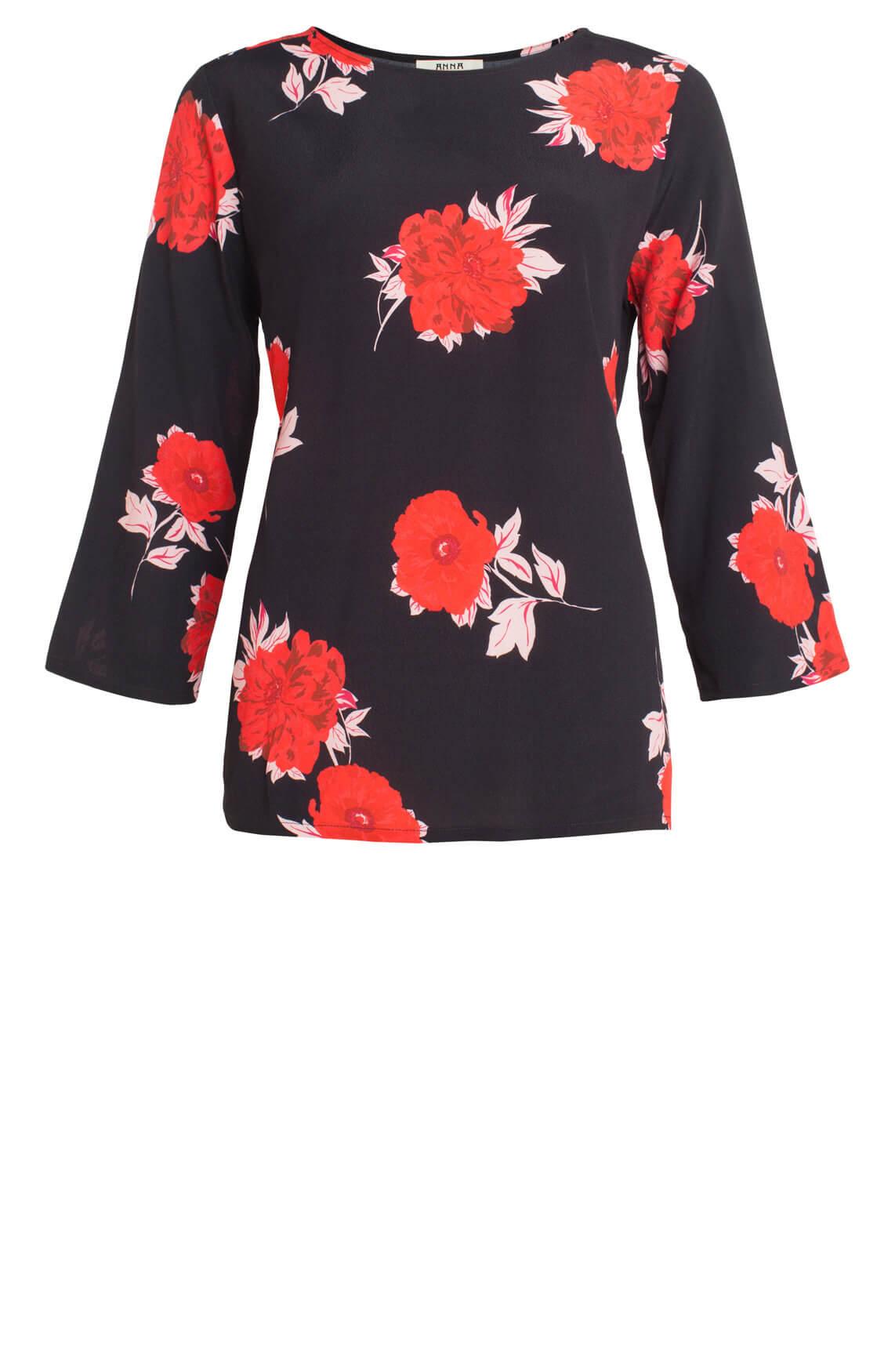 Anna Dames Blouse met bloemenprint Rood