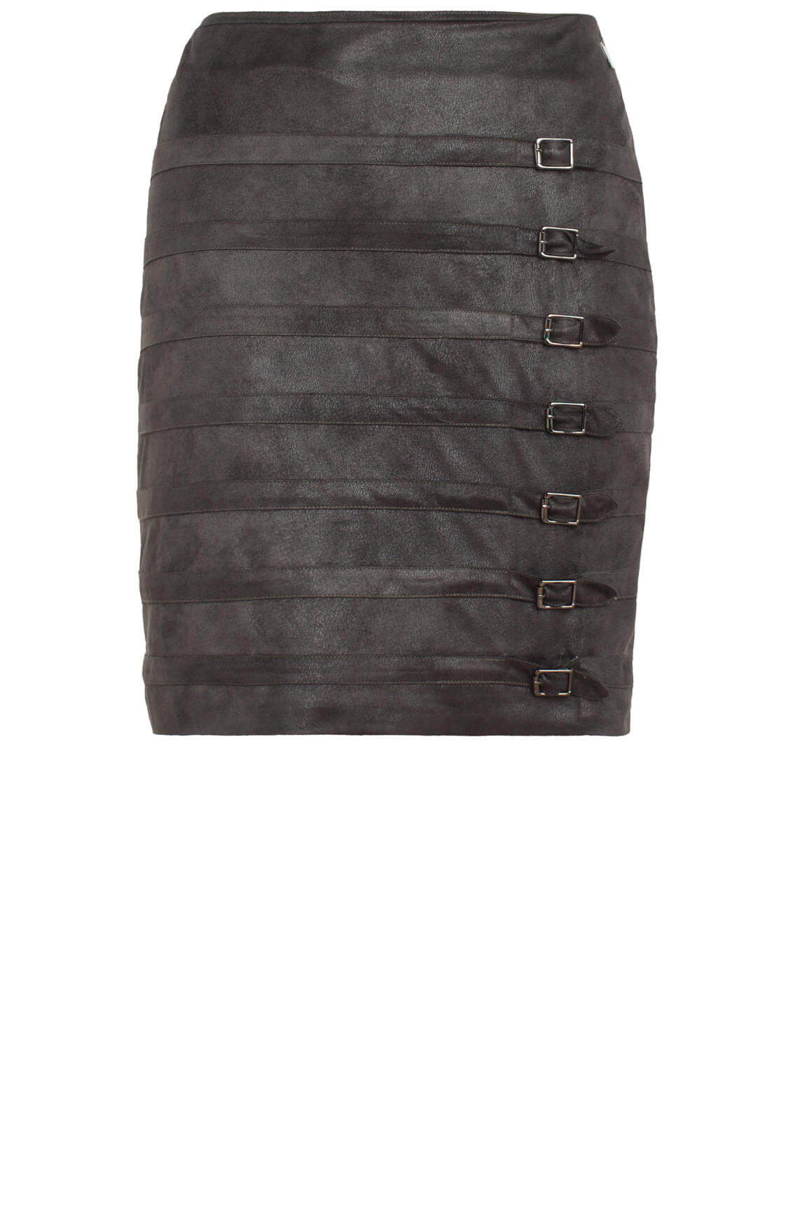Anna Dames Fake leather rok met gespen groen