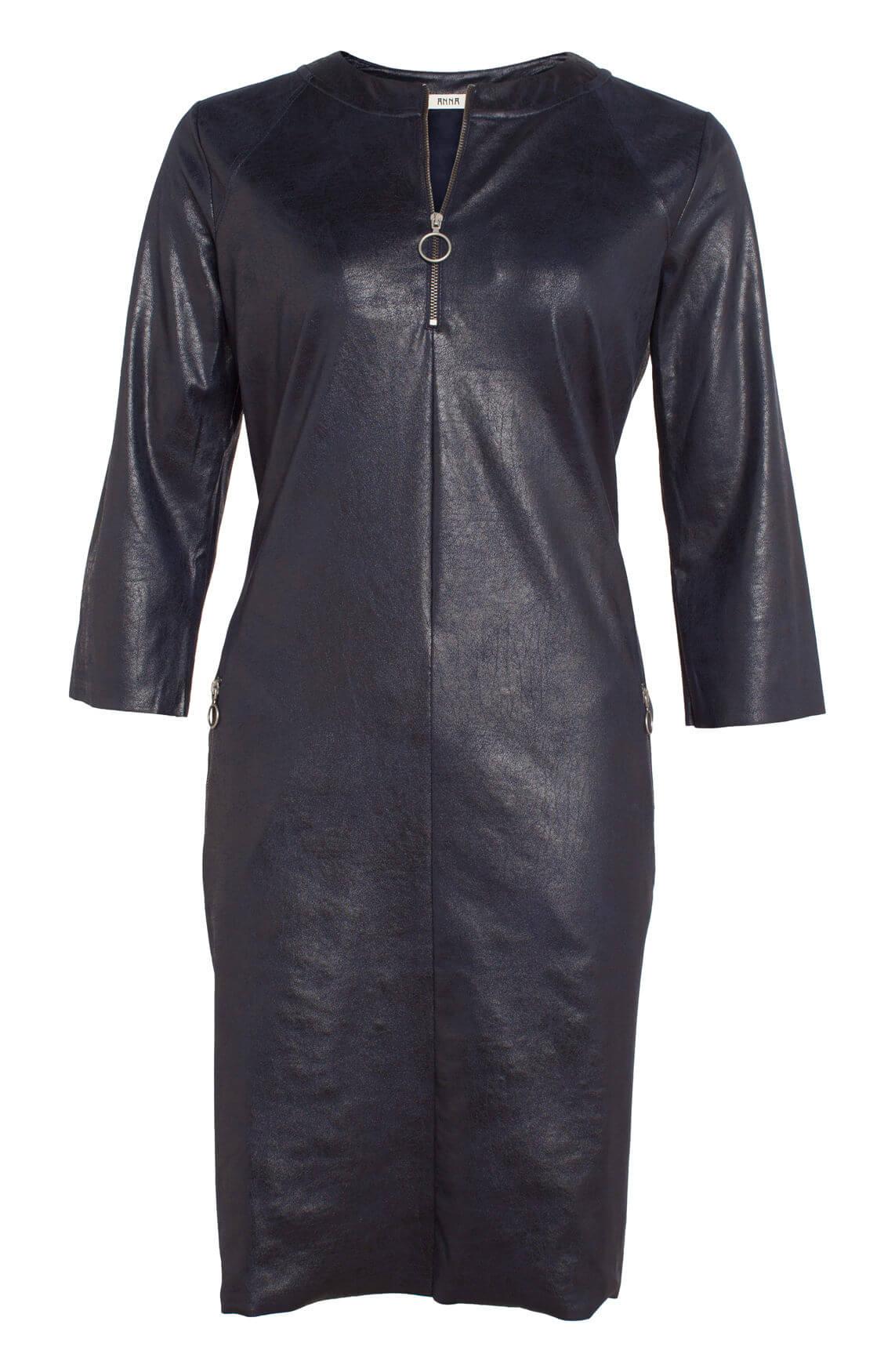 Anna Dames Fake leather jurk Blauw
