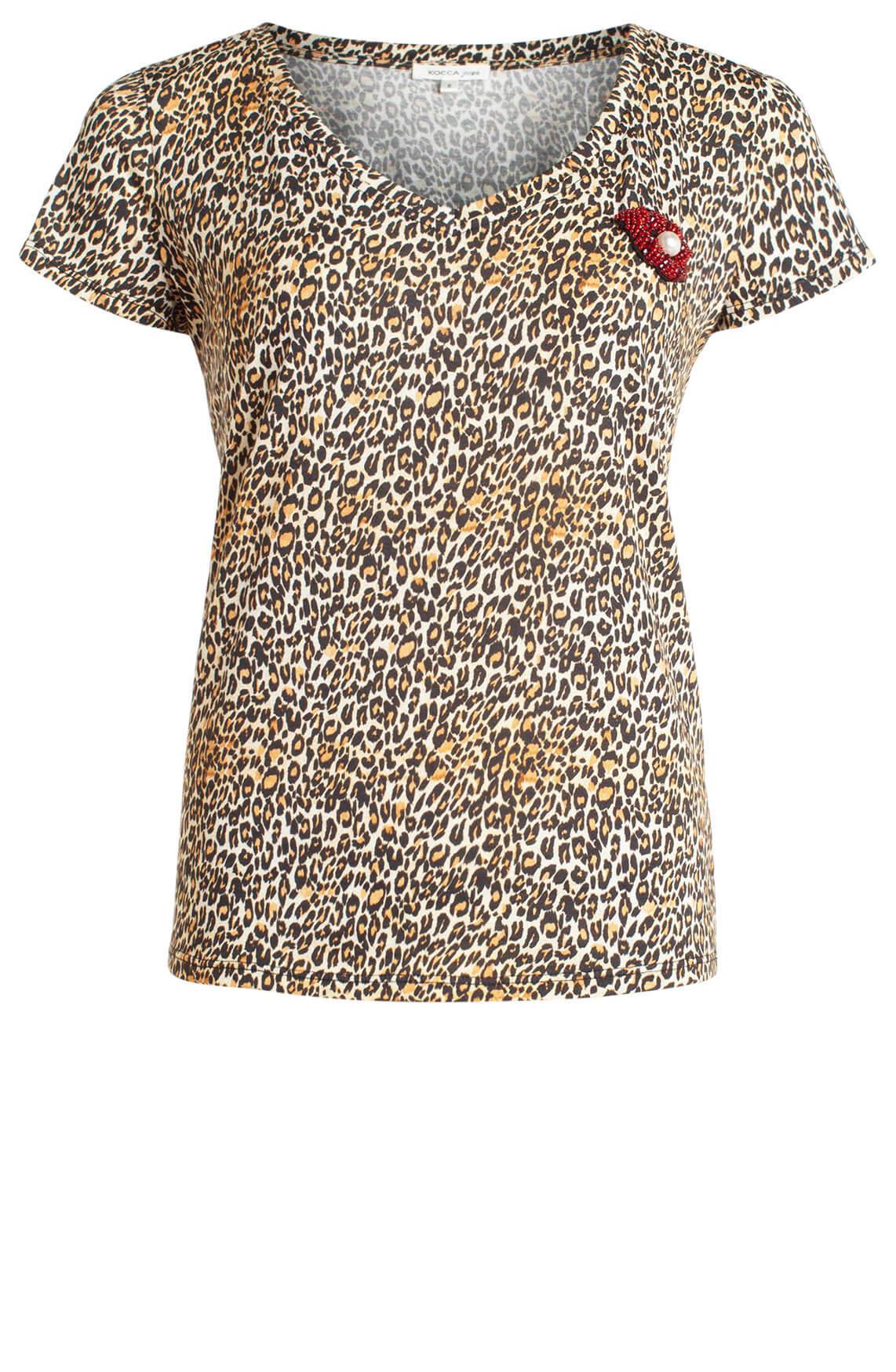 Kocca Dames Dande panterprint shirt geel