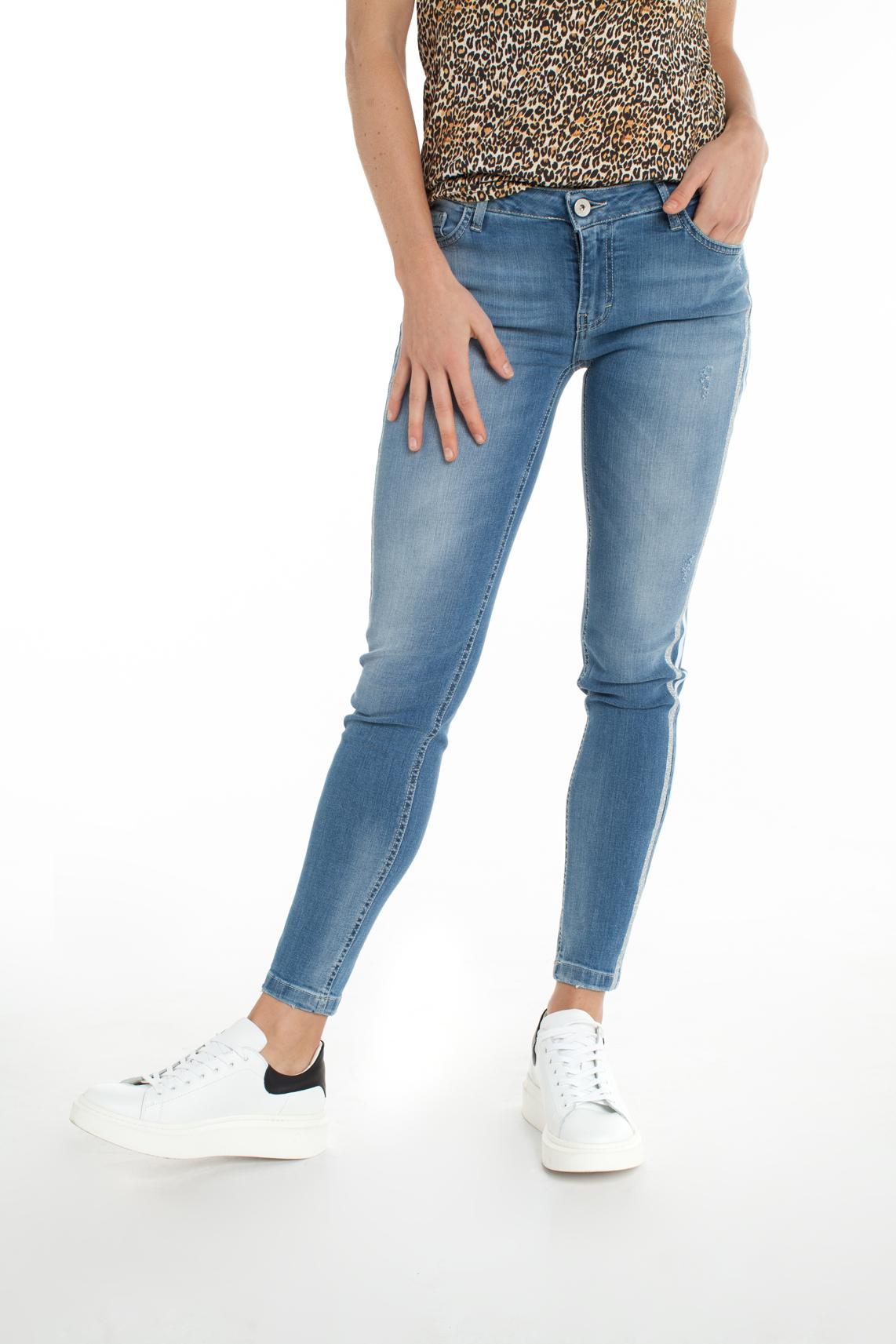 Kocca Dames Bagkin jeans met glitter bies Blauw