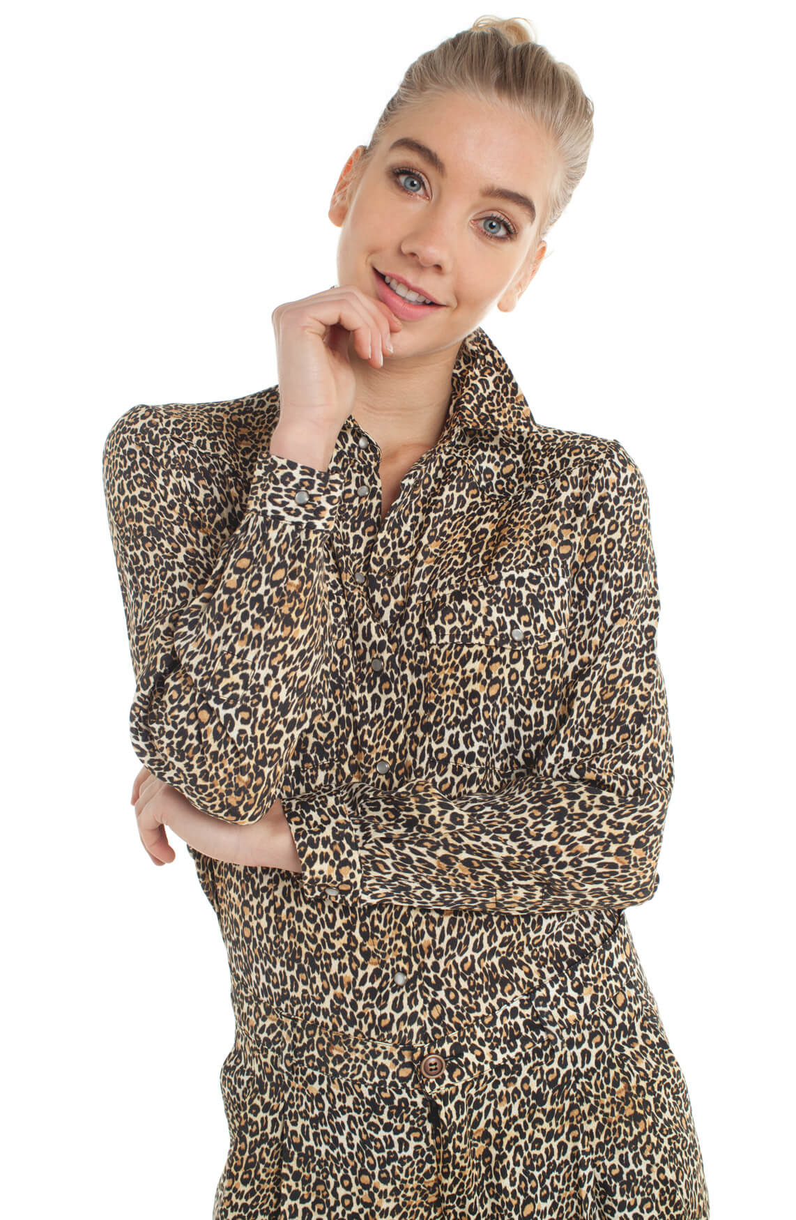 Kocca Dames Bonitas panterprint blouse Bruin