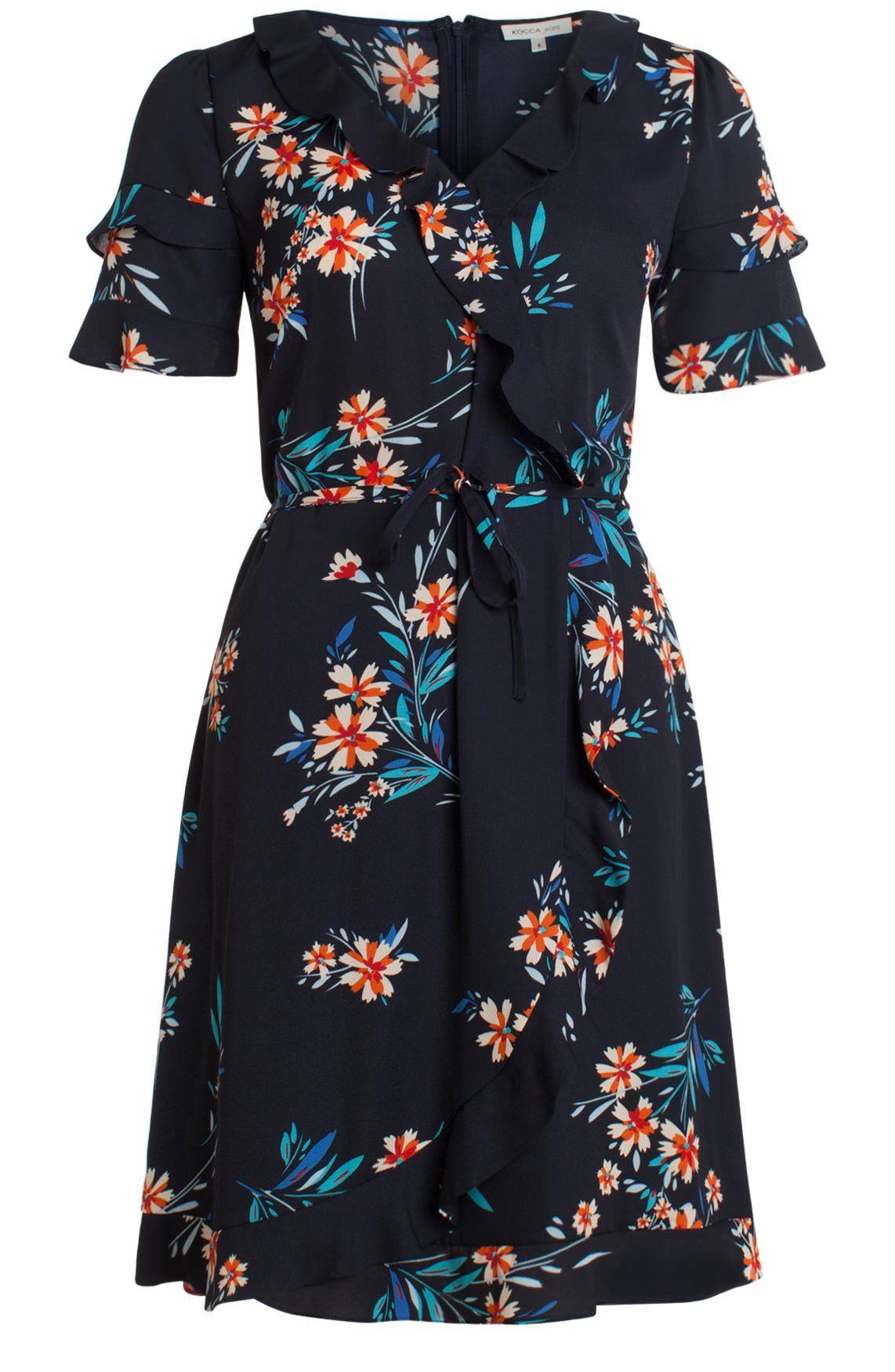 Kocca Dames Accro jurk met ruffles Blauw