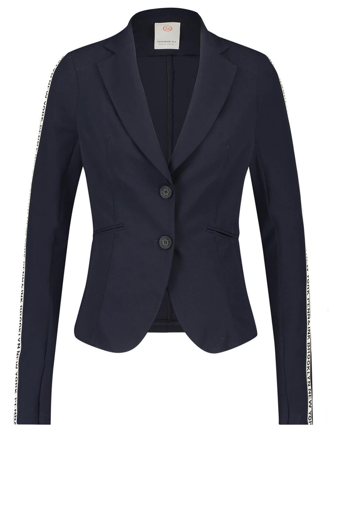 Penn & Ink Dames Jersey blazer met bies Blauw