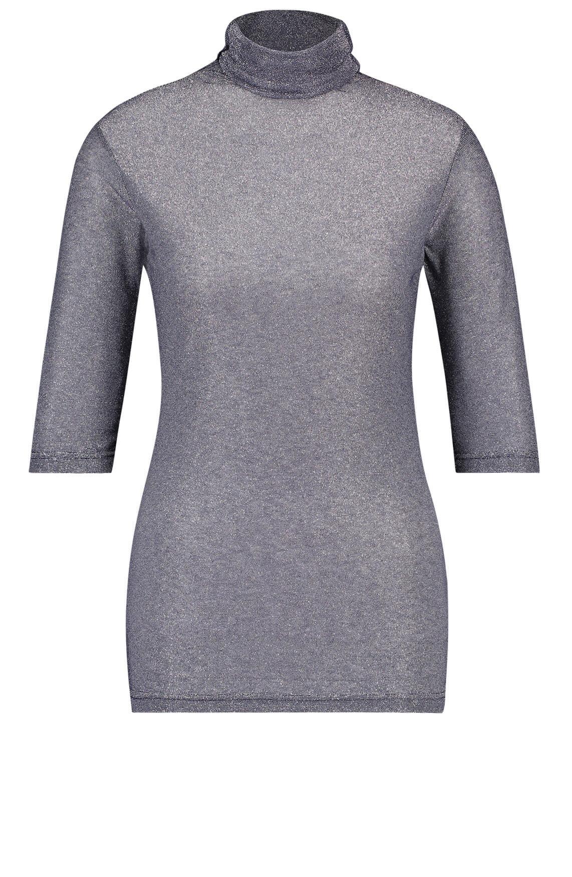 Penn & Ink Dames Glittershirt met col Zilver