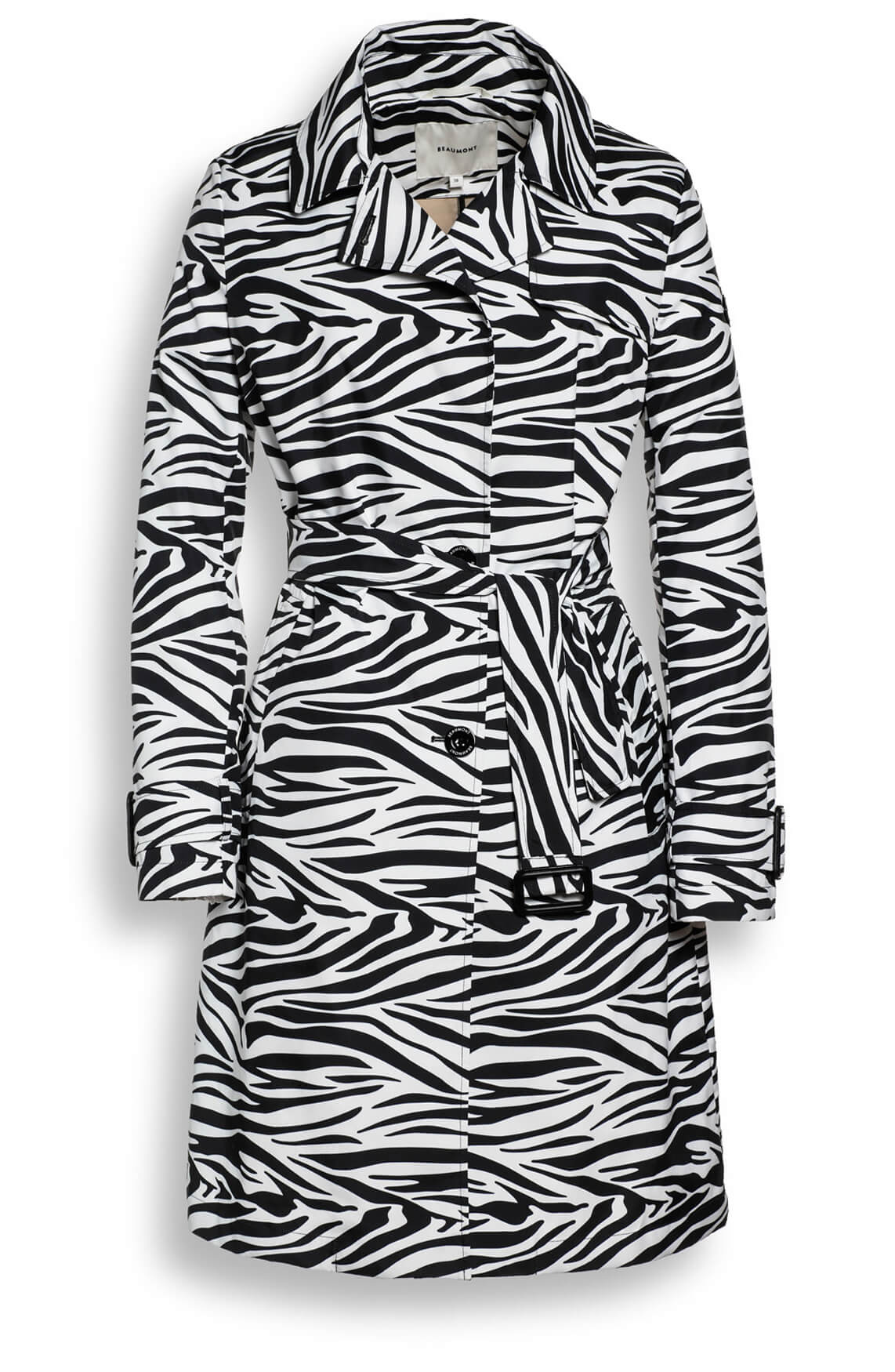 Beaumont Dames Trenchcoat met zebraprint zwart