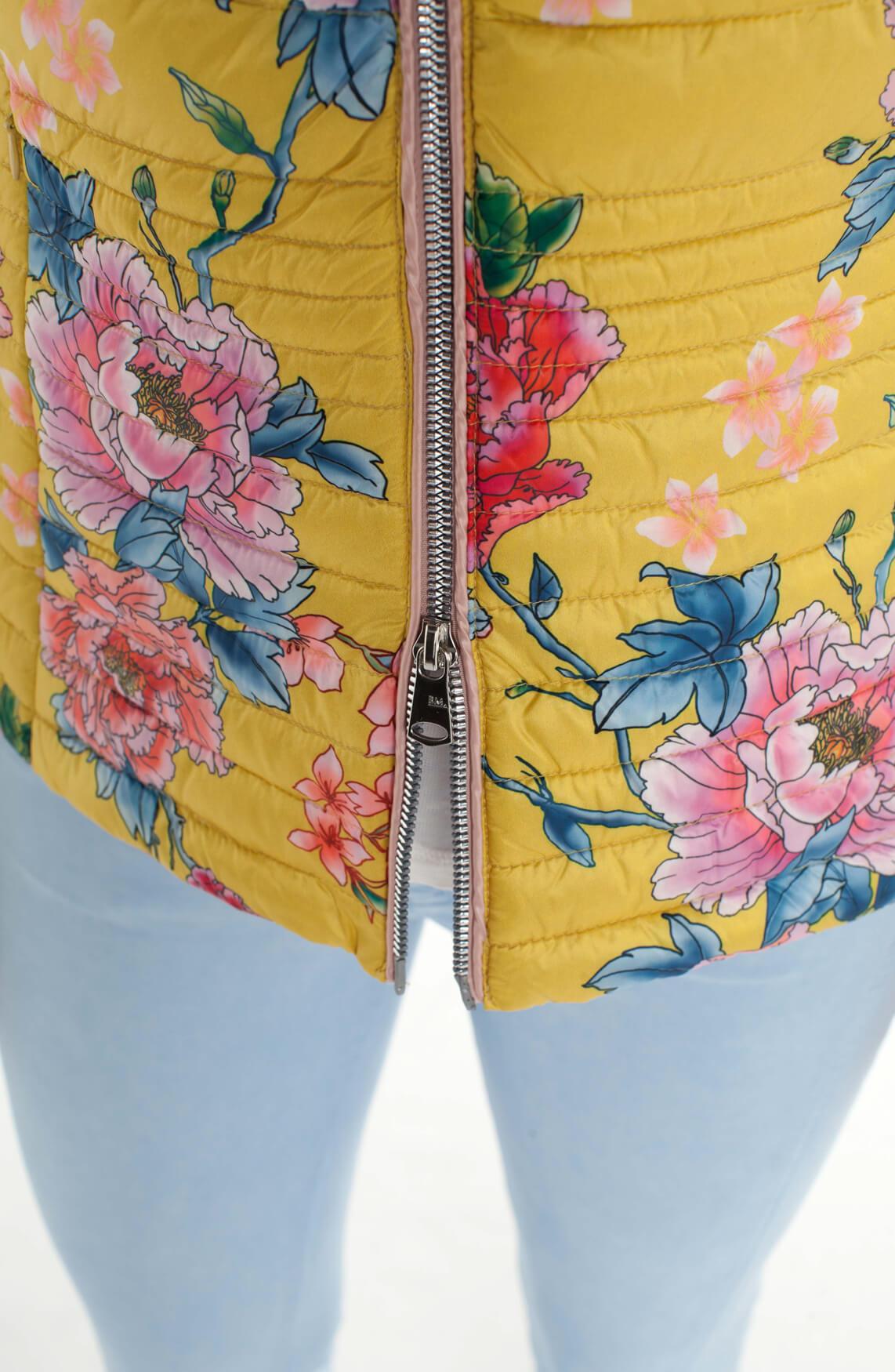 Beaumont Dames Korte donsjas met bloemen geel