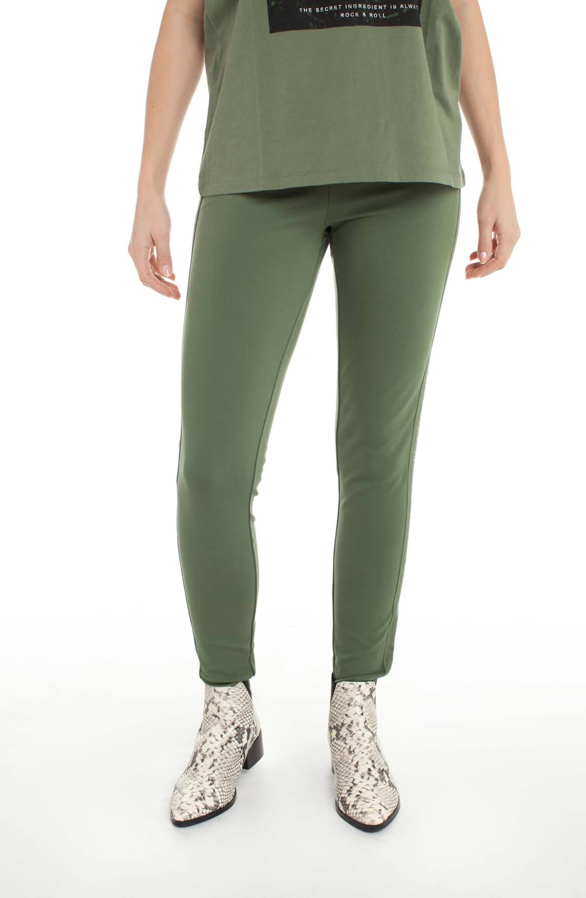 Alix The Label Dames Legging met bies groen