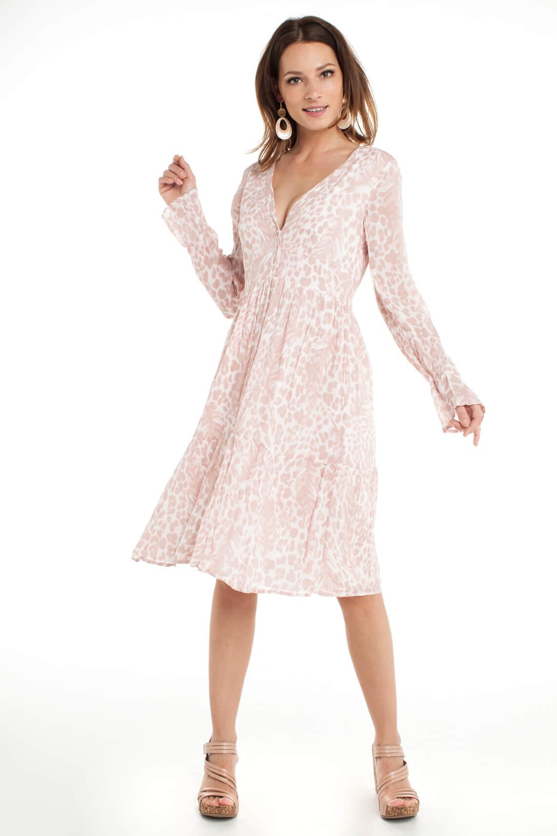 Alix The Label Dames Lange jurk met panterprint roze