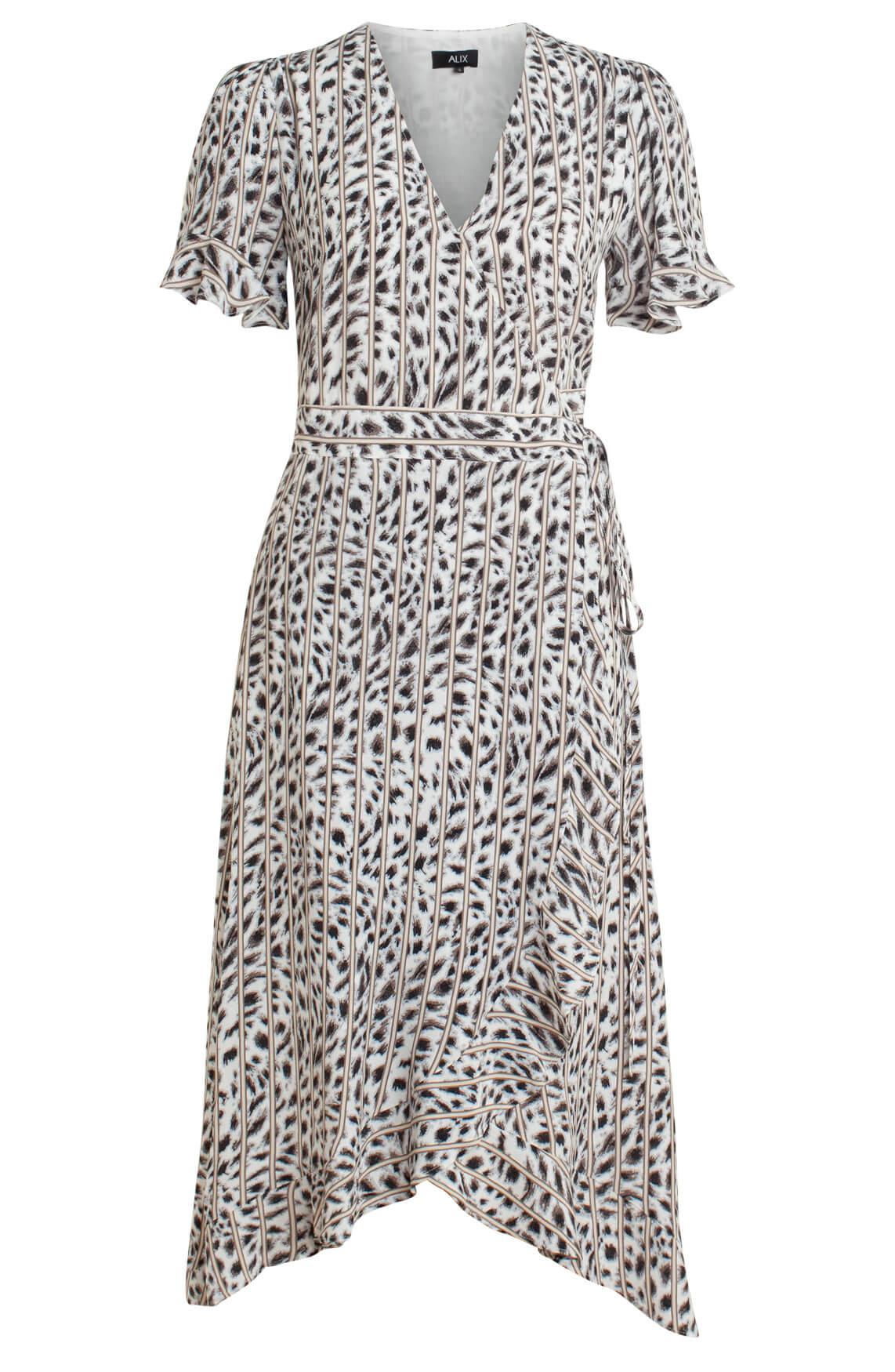 Alix The Label Dames Lange panterprint jurk Grijs