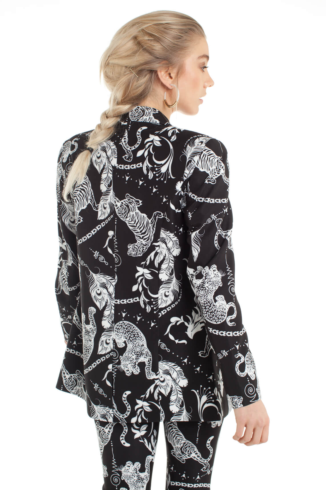 Alix The Label Dames Blazer met animalprint zwart