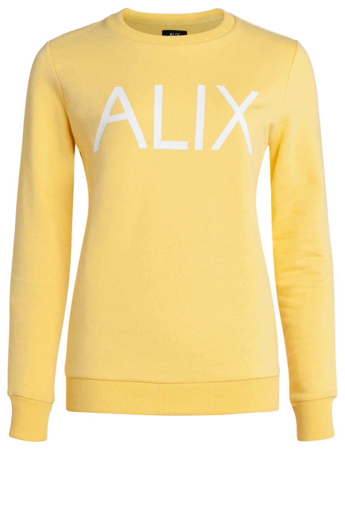 Alix The Label Dames Sweater met tekstprint geel | Anna van Toor
