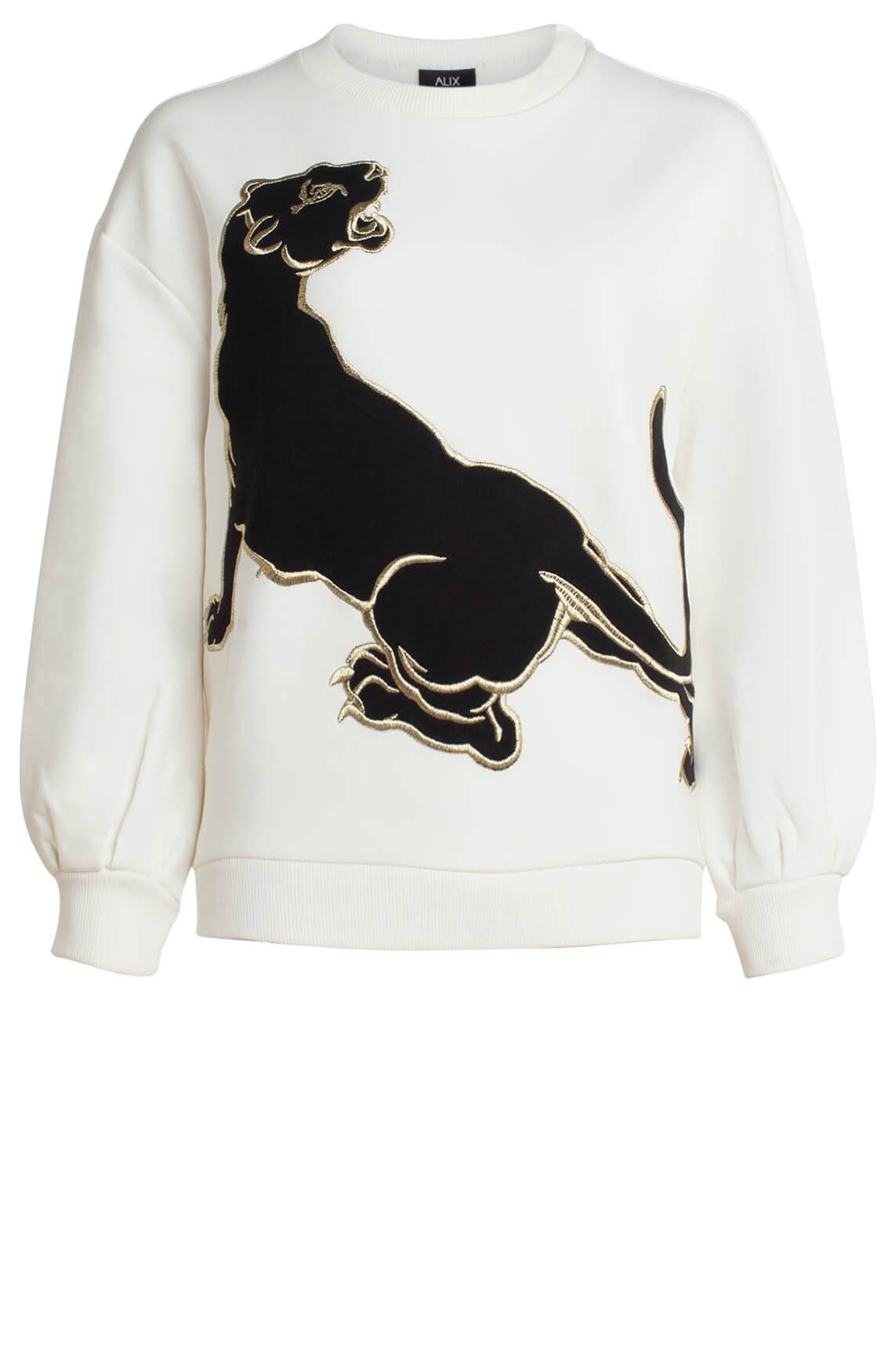 Alix The Label Dames Sweater met animalprint wit