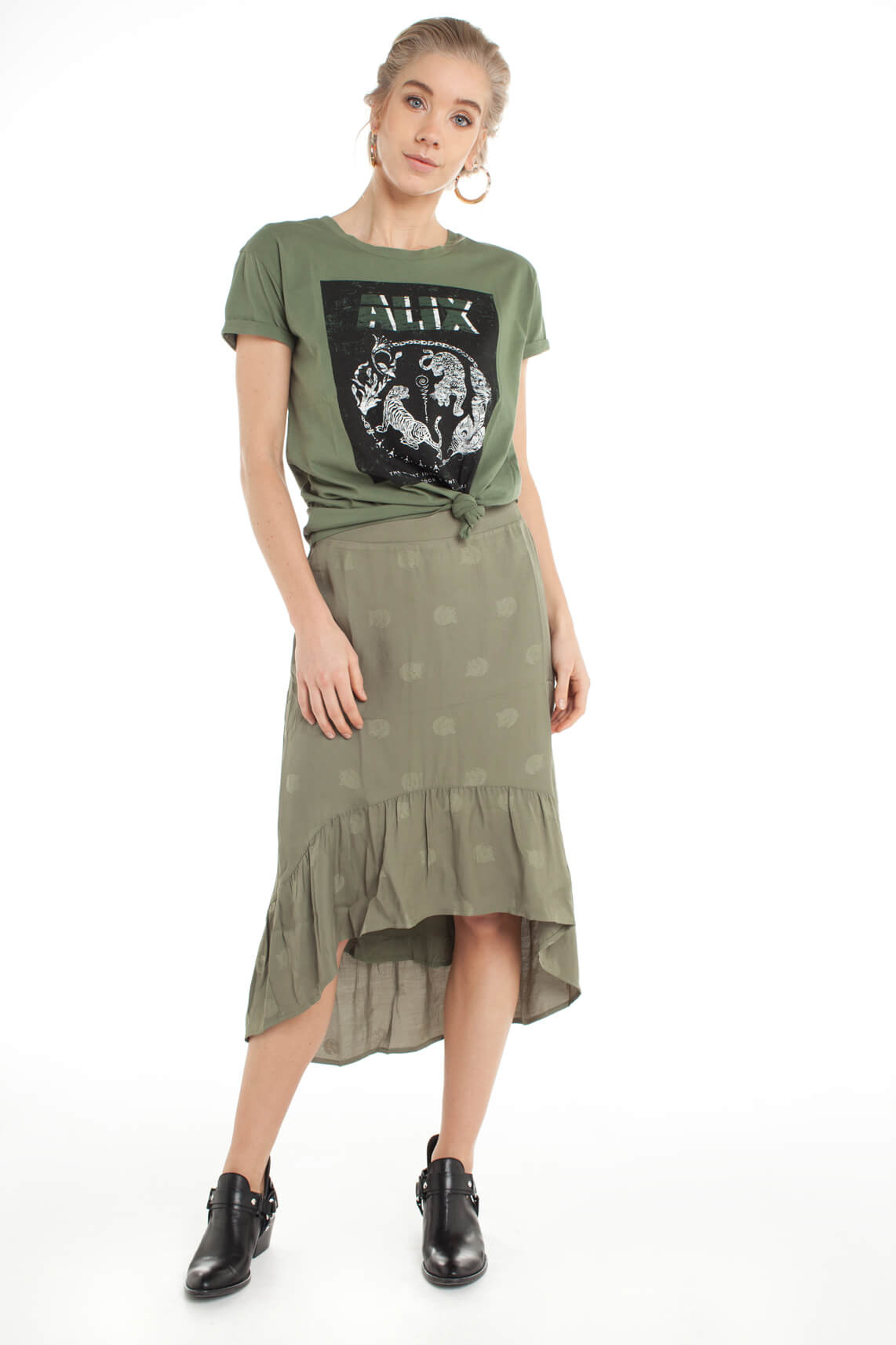 Alix The Label Dames Shirt met opdruk groen