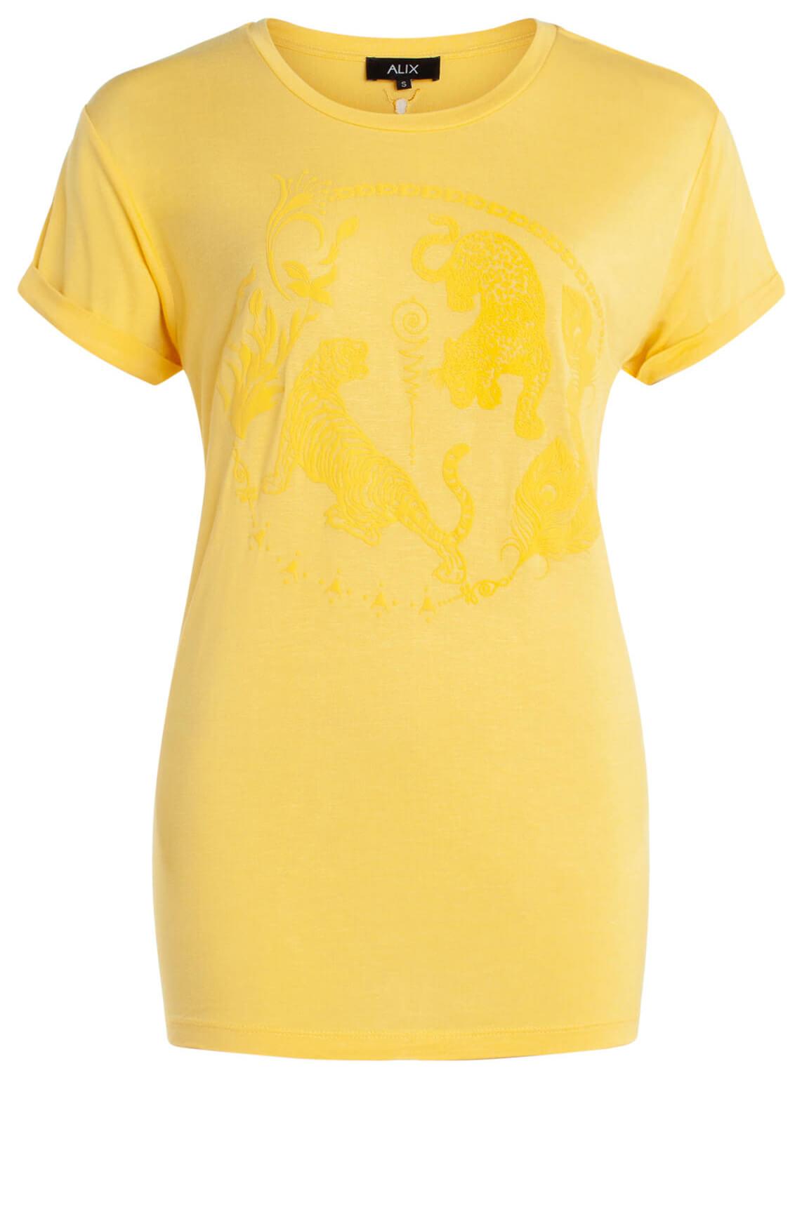 Alix The Label Dames Shirt met opdruk geel