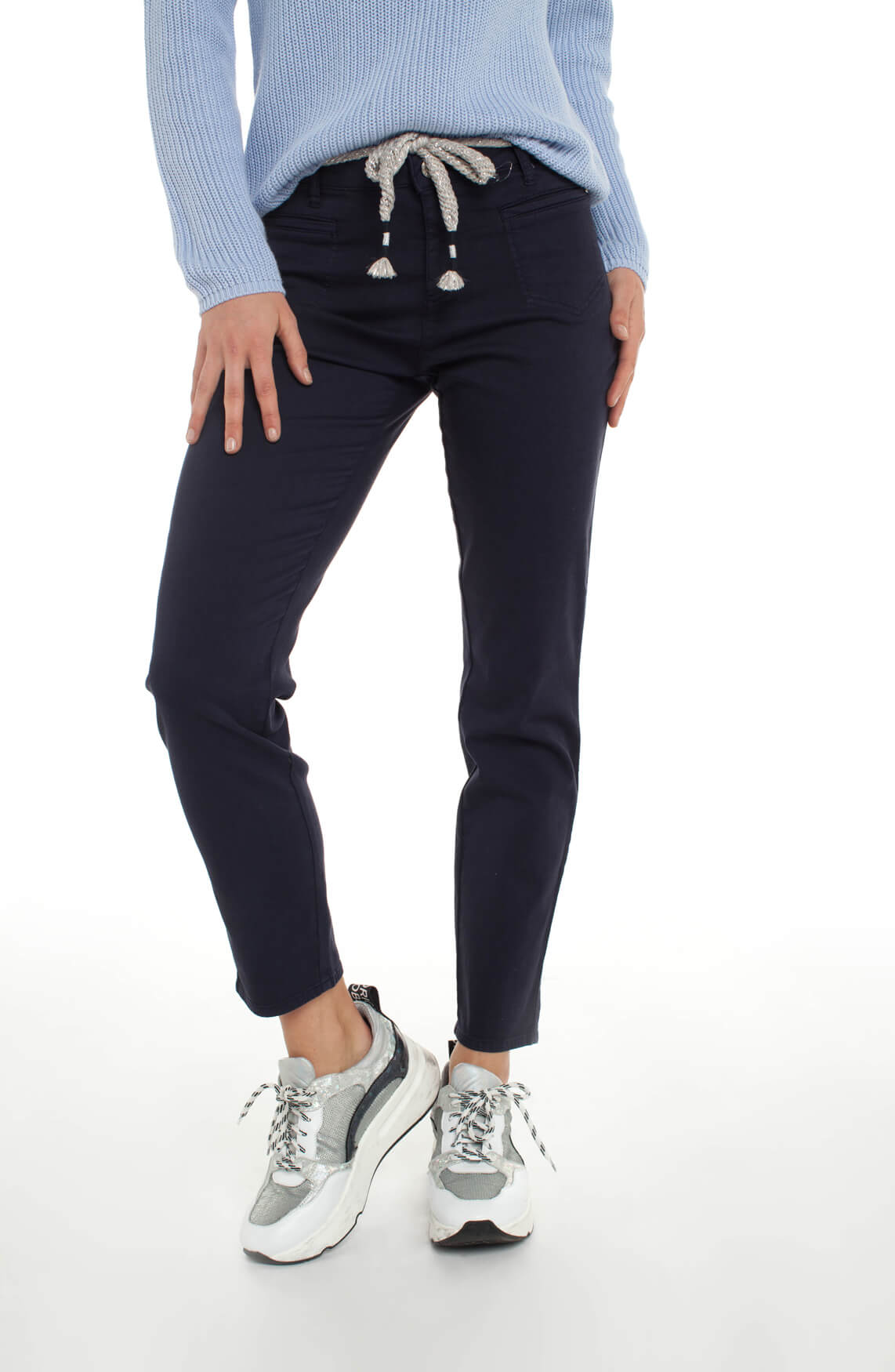 Rosner Dames Alisa broek met glitter ceintuur Blauw