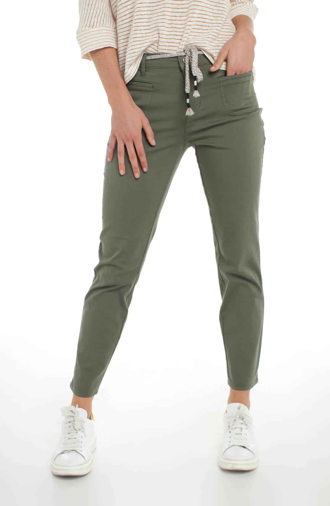 Rosner Dames Alisa broek met glitter ceintuur groen
