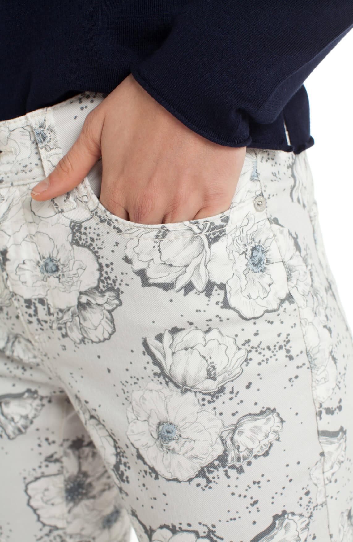 Cambio Dames Parla jeans met bloemen Grijs
