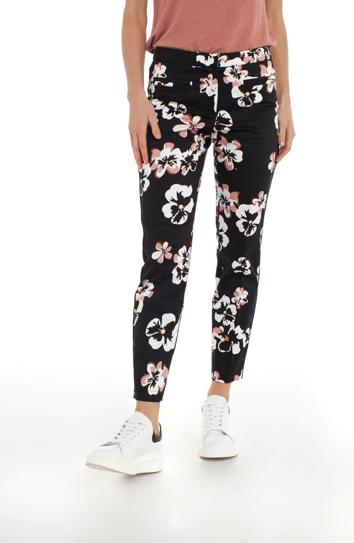 Cambio Dames Raffery broek met bloemenprint zwart