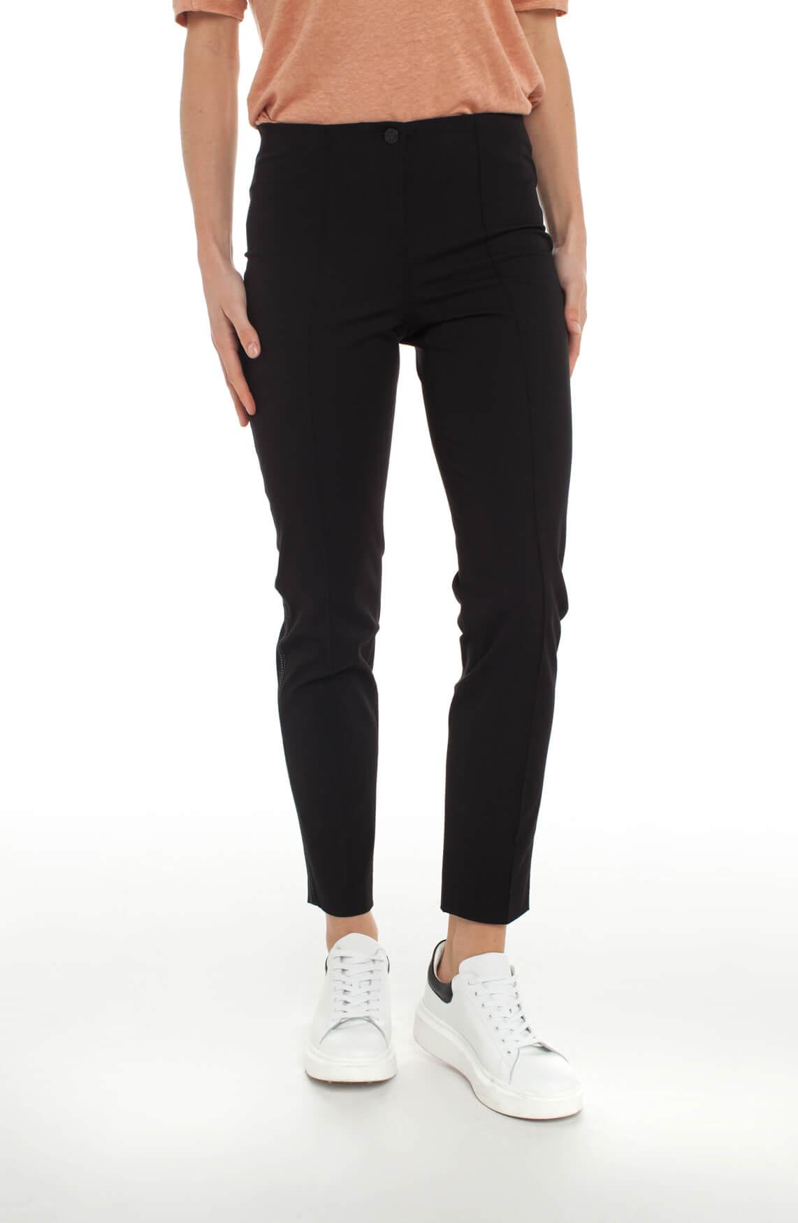 Cambio Dames Ros pantalon met contrasterende stiksels zwart