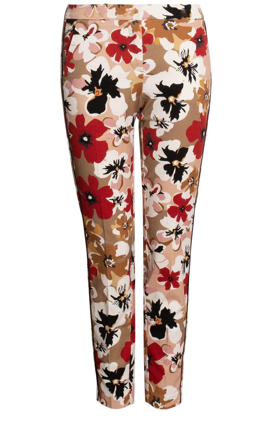 Cambio Dames Rafferty broek met bloemenprint Bruin