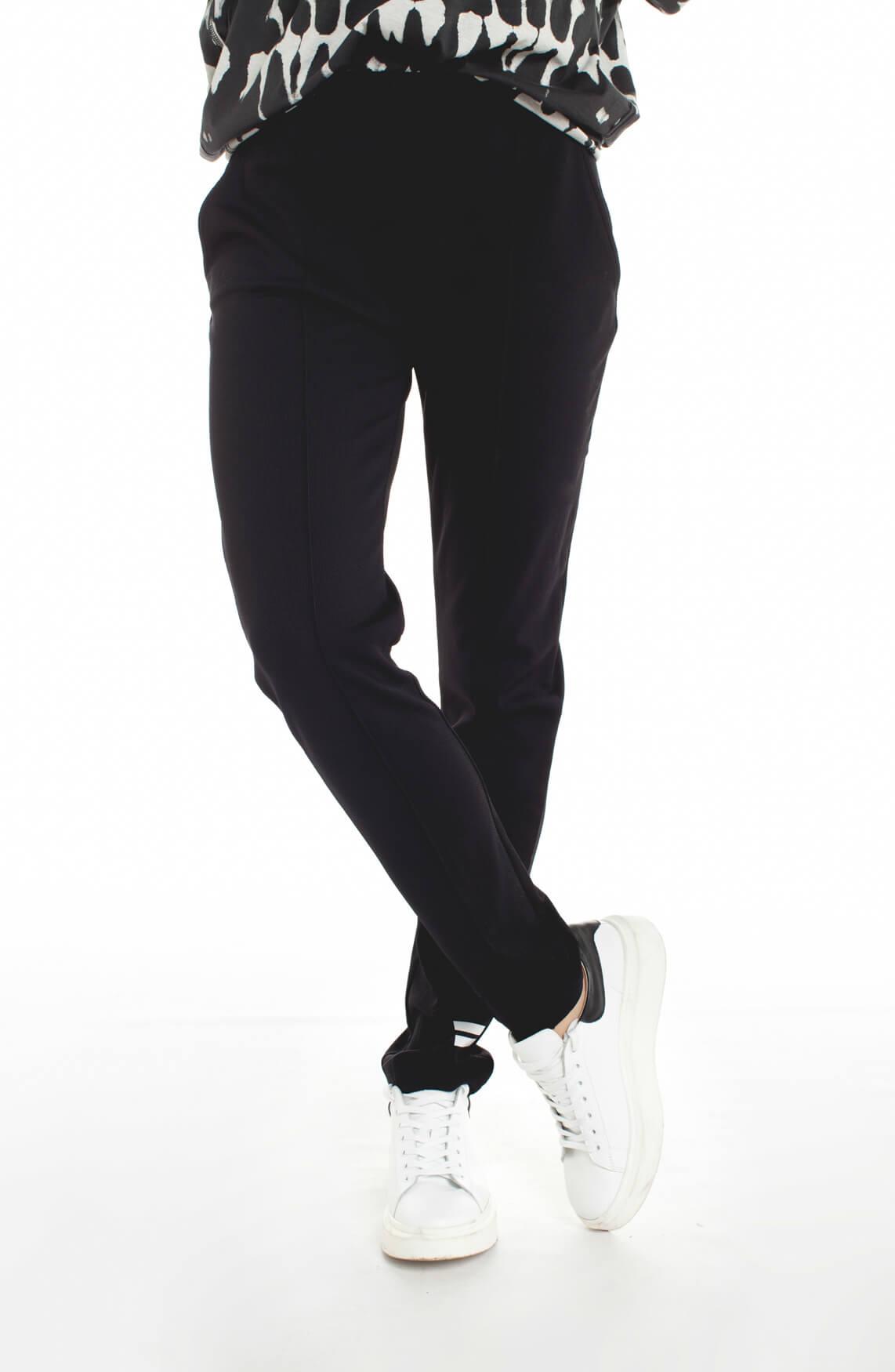 10 Days Dames Structuur jogpant met streepdetail zwart