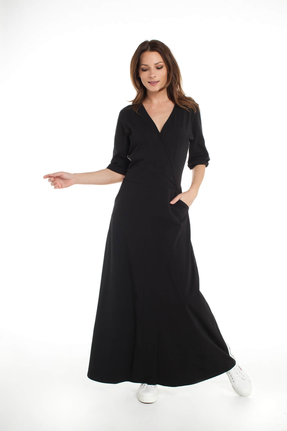 10 Days Dames Lange overslag jurk zwart