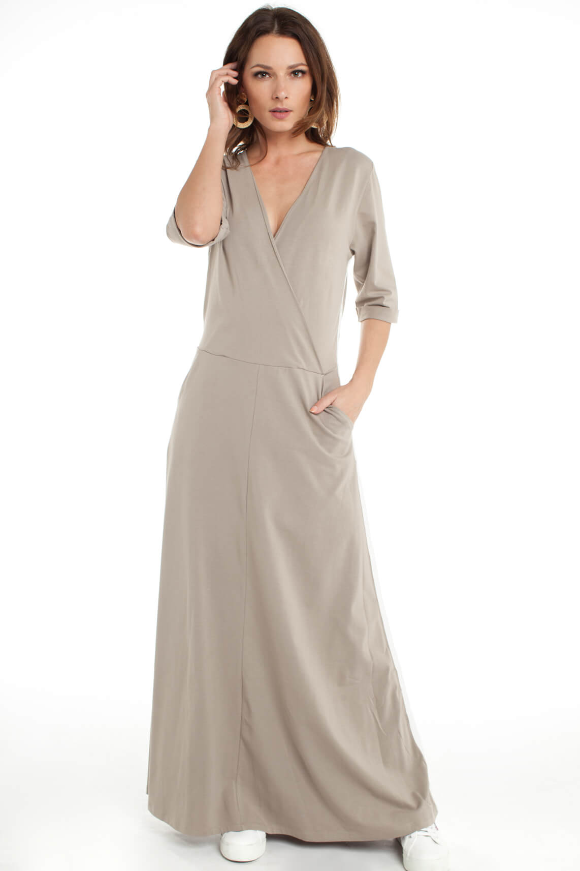 10 Days Dames Lange overslag jurk Bruin