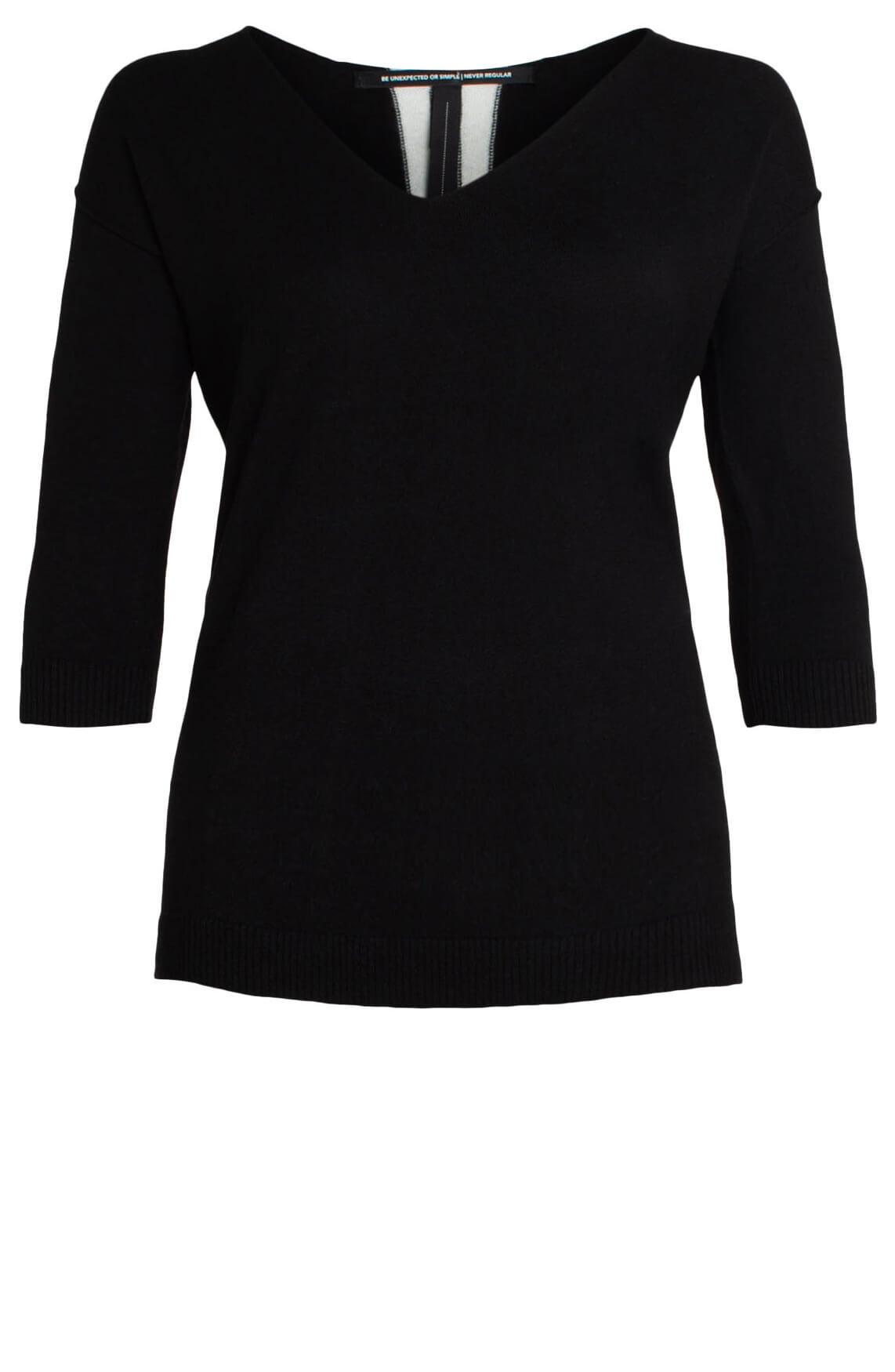 10 Days Dames Pullover met dubbele bies zwart