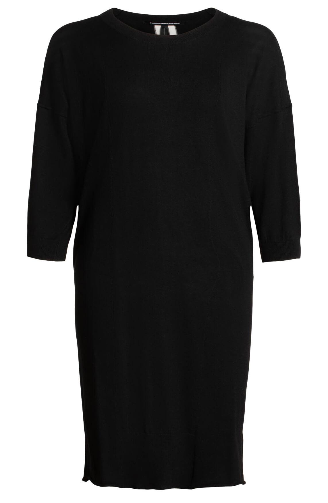 10 Days Dames Gebreide jurk met strepen zwart