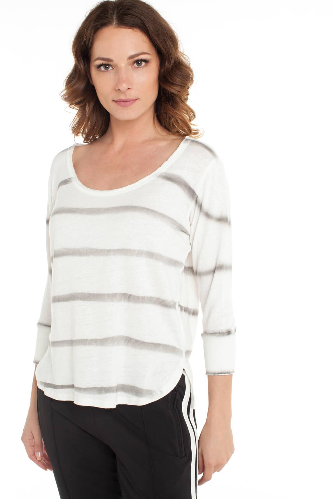 10 Days Dames Shirt met garment dye strepen wit