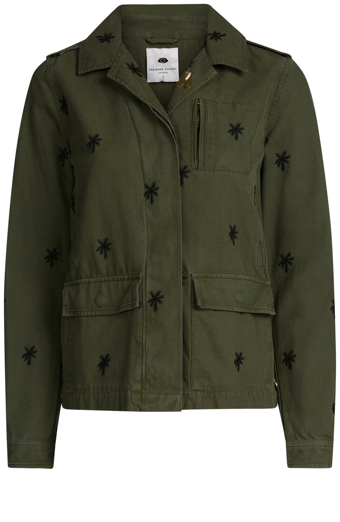 Fabienne Chapot Dames Doris army jas met palmboomprint groen