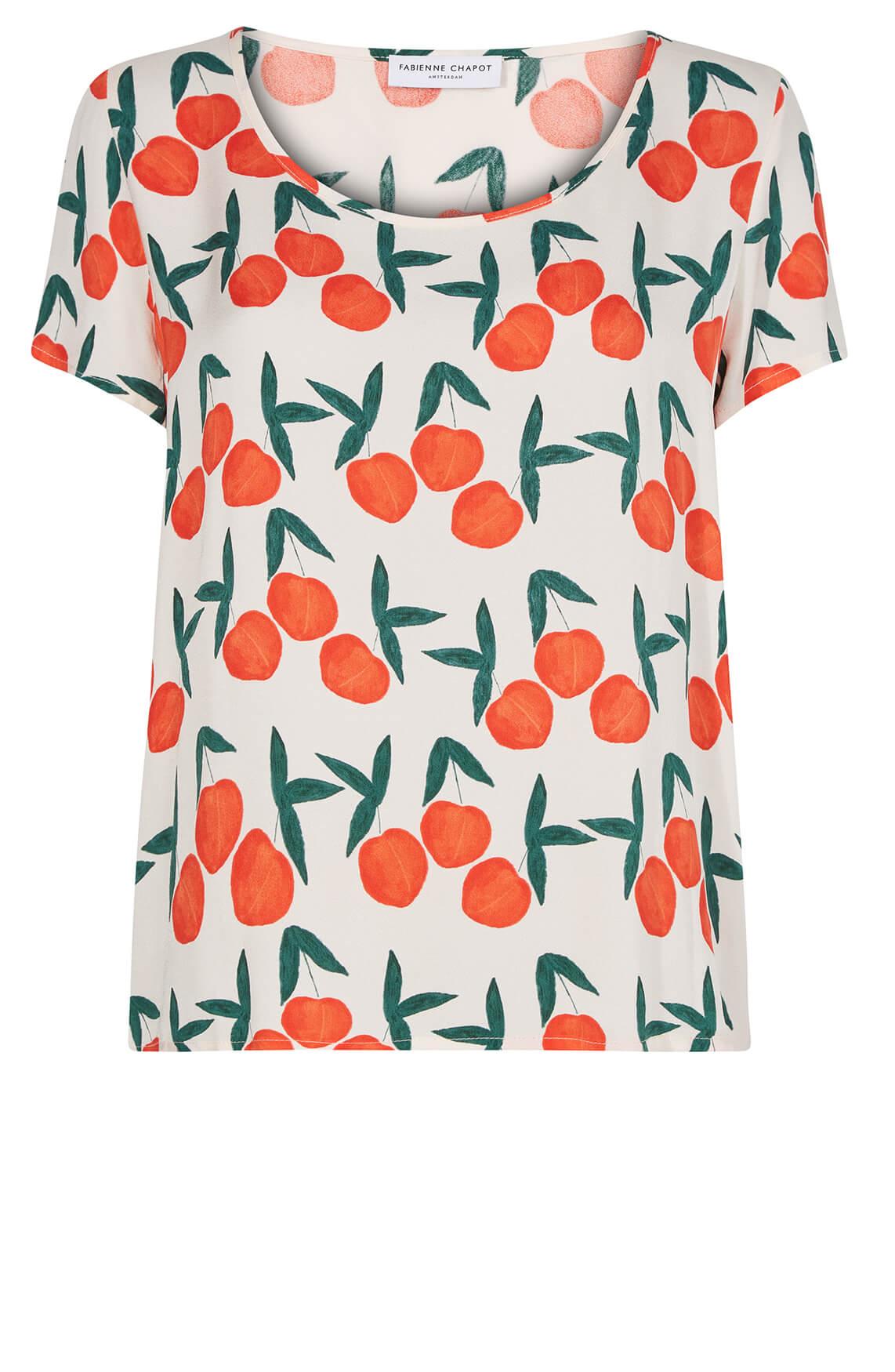 Fabienne Chapot Dames Doris shirt met perzikprint Oranje