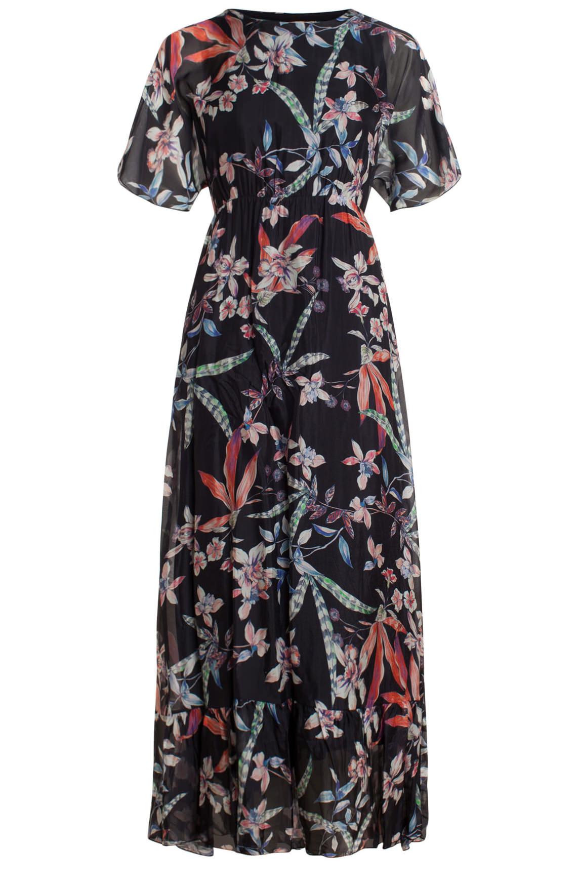 3f5b970d7f0d97 La Fée Maraboutée Dames Maxi jurk met bloemenprint zwart
