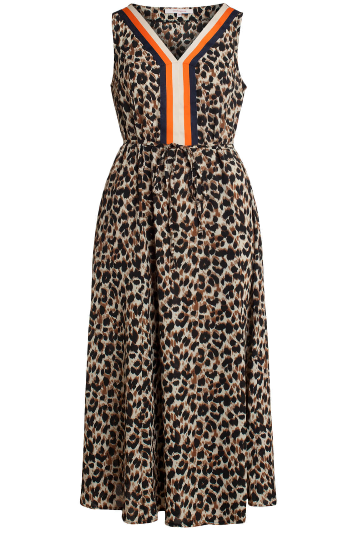 La Fée Maraboutée Dames Lange jurk met panterprint Bruin