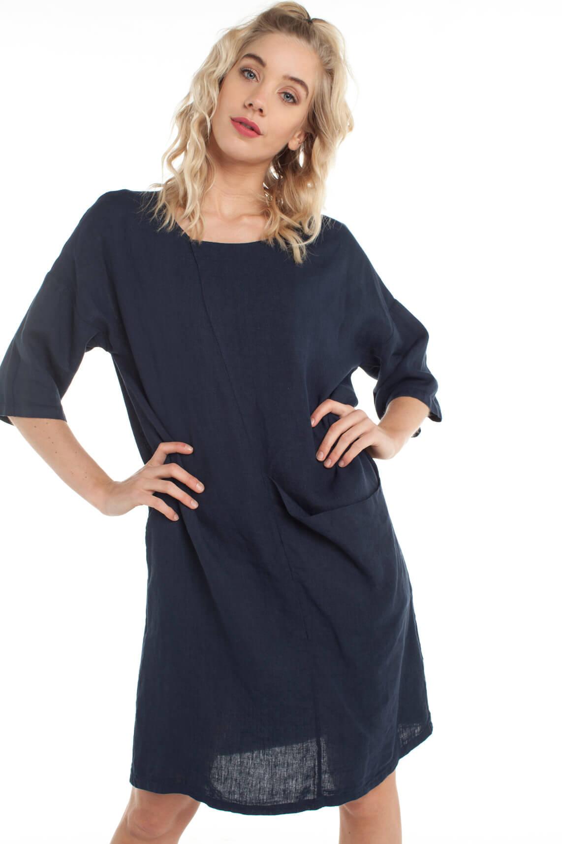 La Fée Maraboutée Dames Linnen jurk Blauw