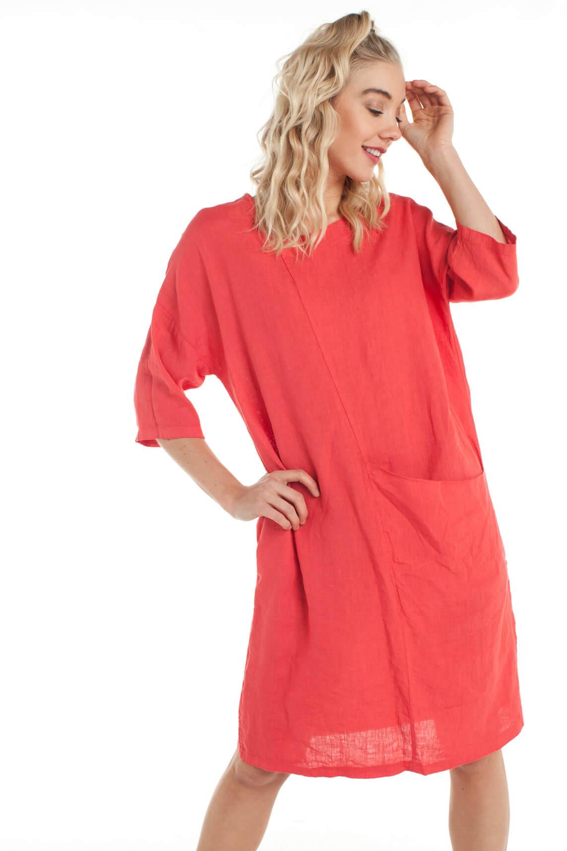 La Fée Maraboutée Dames Linnen jurk Rood