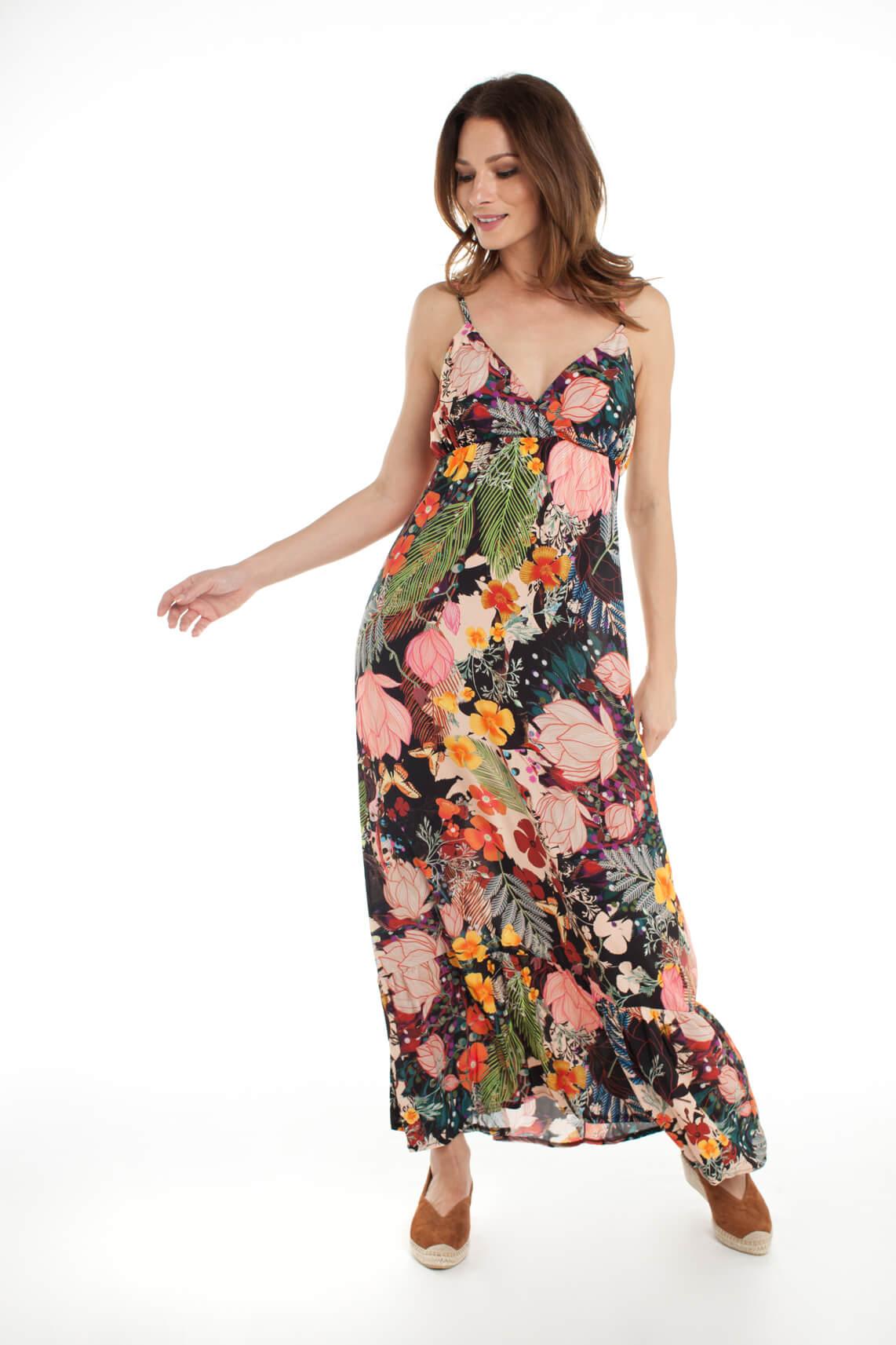 La Fée Maraboutée Dames Lange jurk met bloemenprint zwart