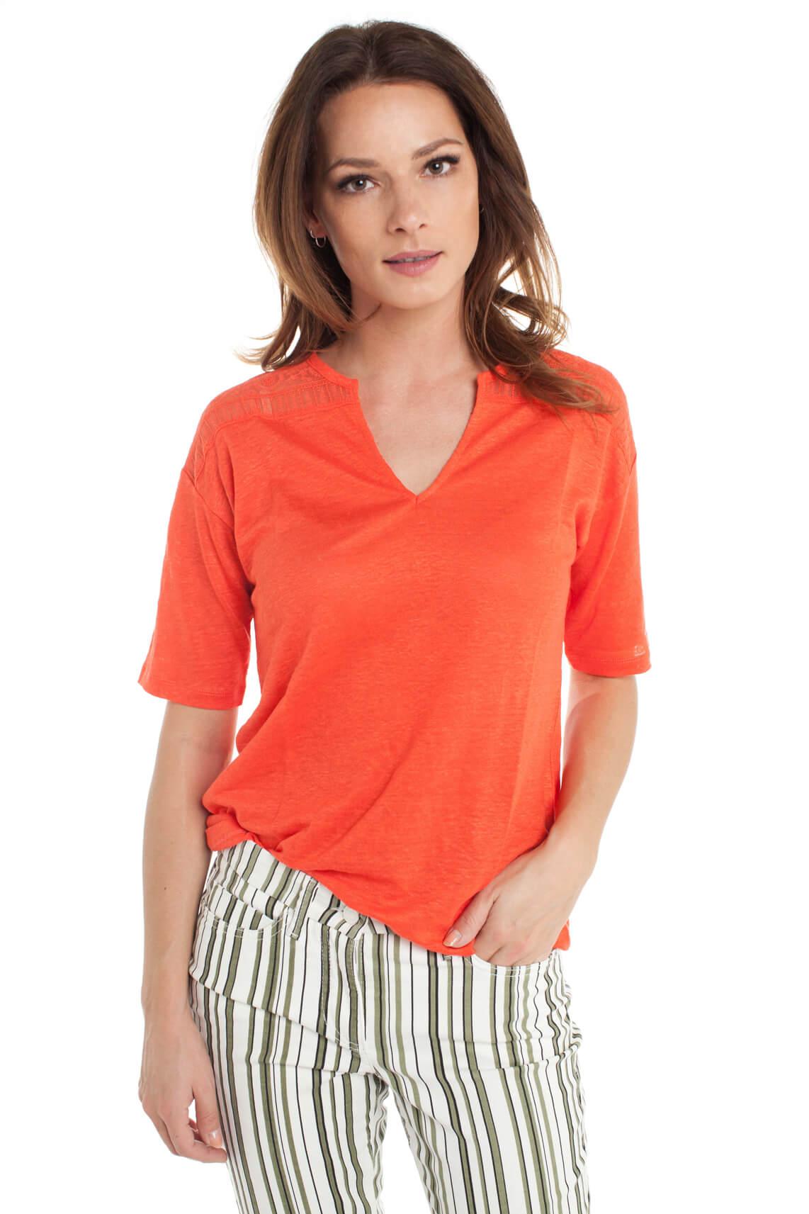 La Fée Maraboutée Dames Shirt met kanten detail Rood