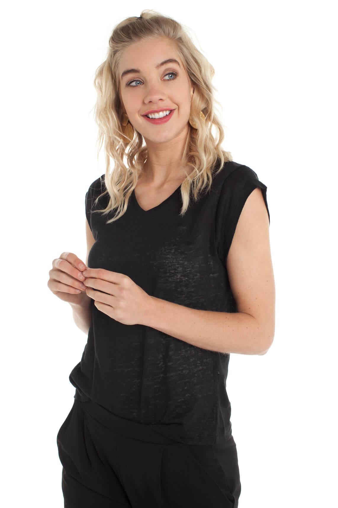 La Fée Maraboutée Dames Linnen shirt zwart