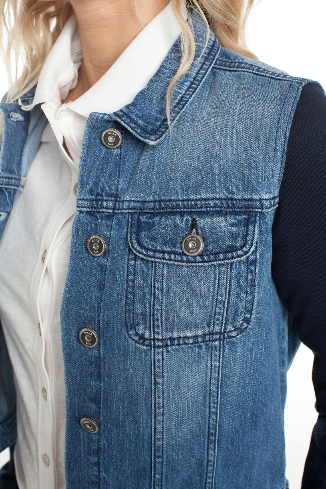 Anna Blue Dames Spijkerjack met contrasterende mouwen Blauw