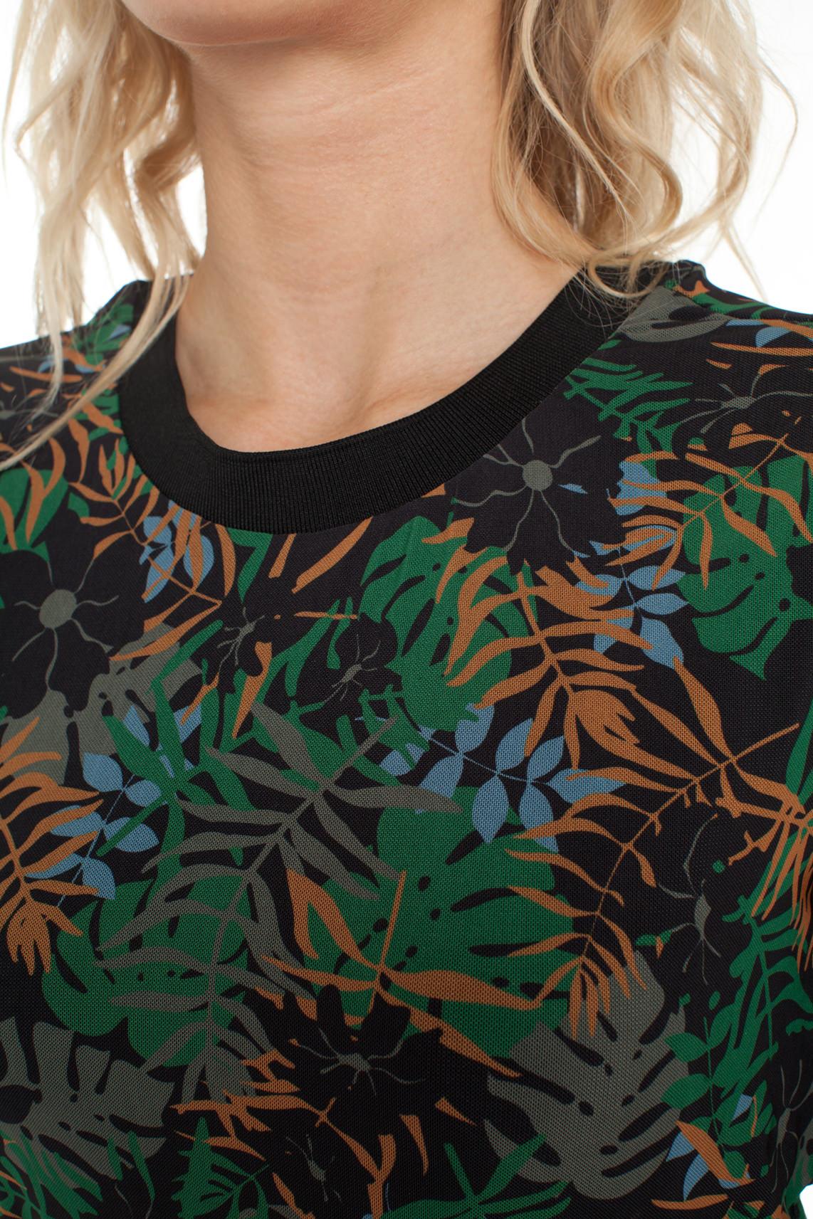Anna Dames Mesh jurk met bladprint groen