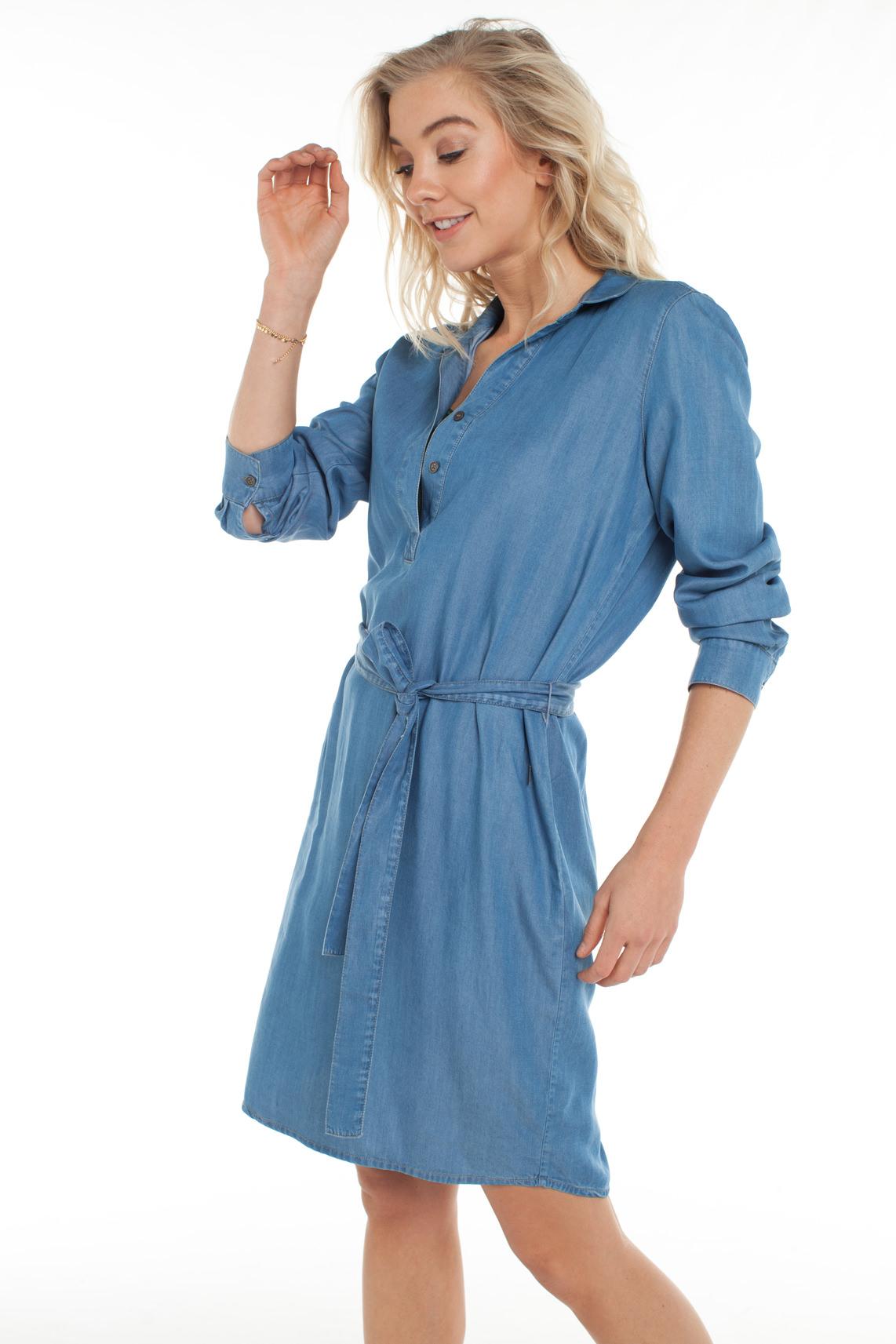 Anna Dames Tencel jurk Blauw