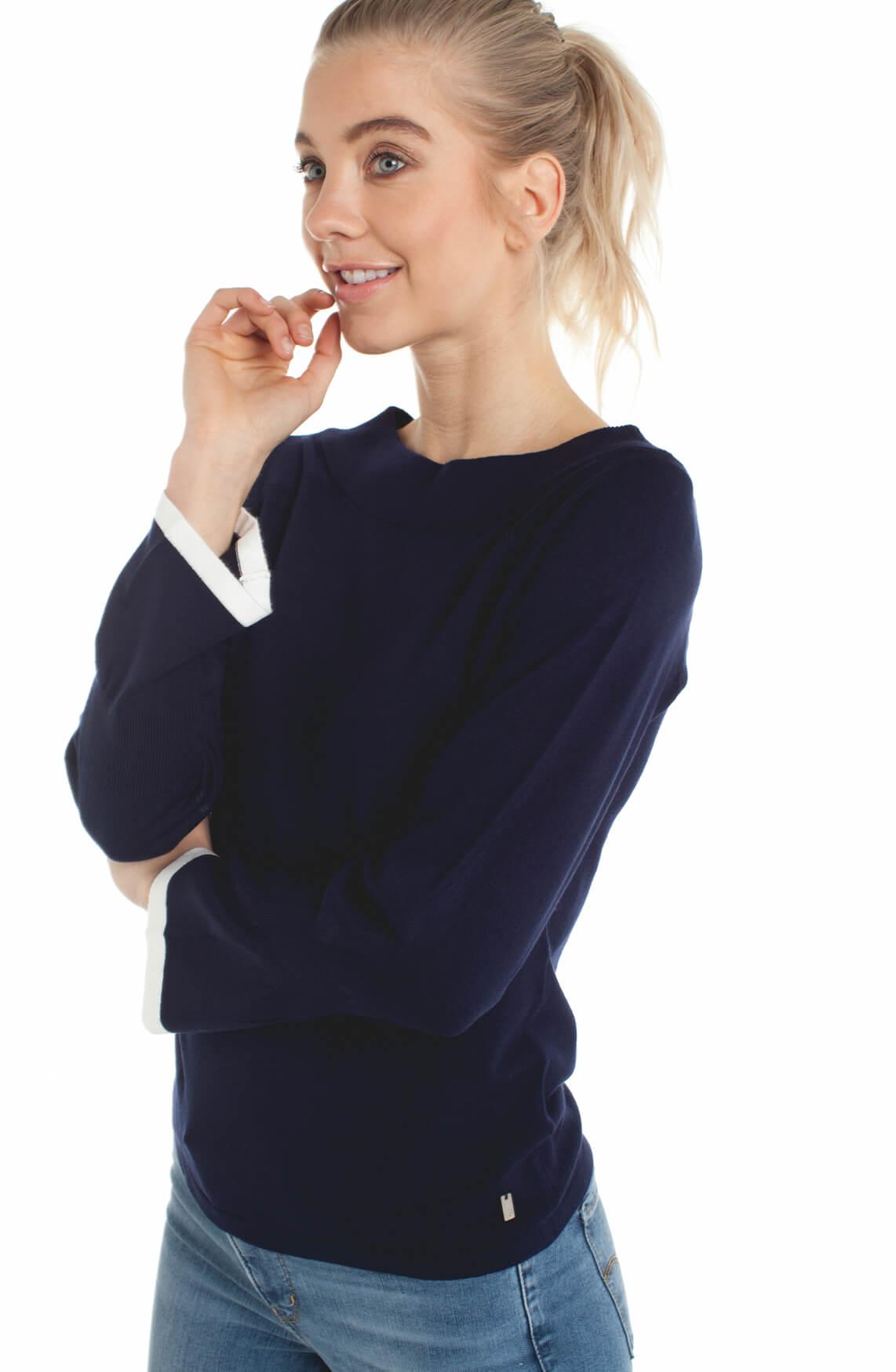Anna Dames Pullover met klokmouwen Blauw