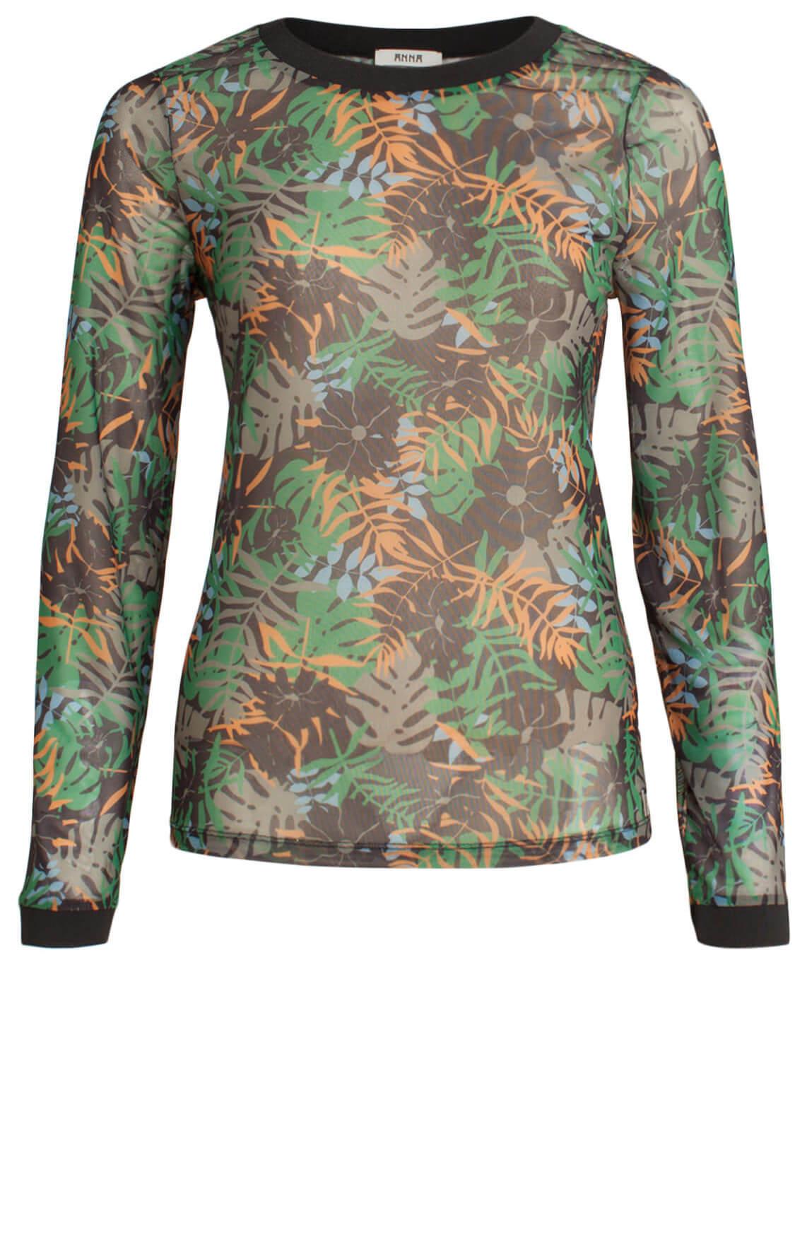 Anna Dames Mesh shirt met bladprint groen