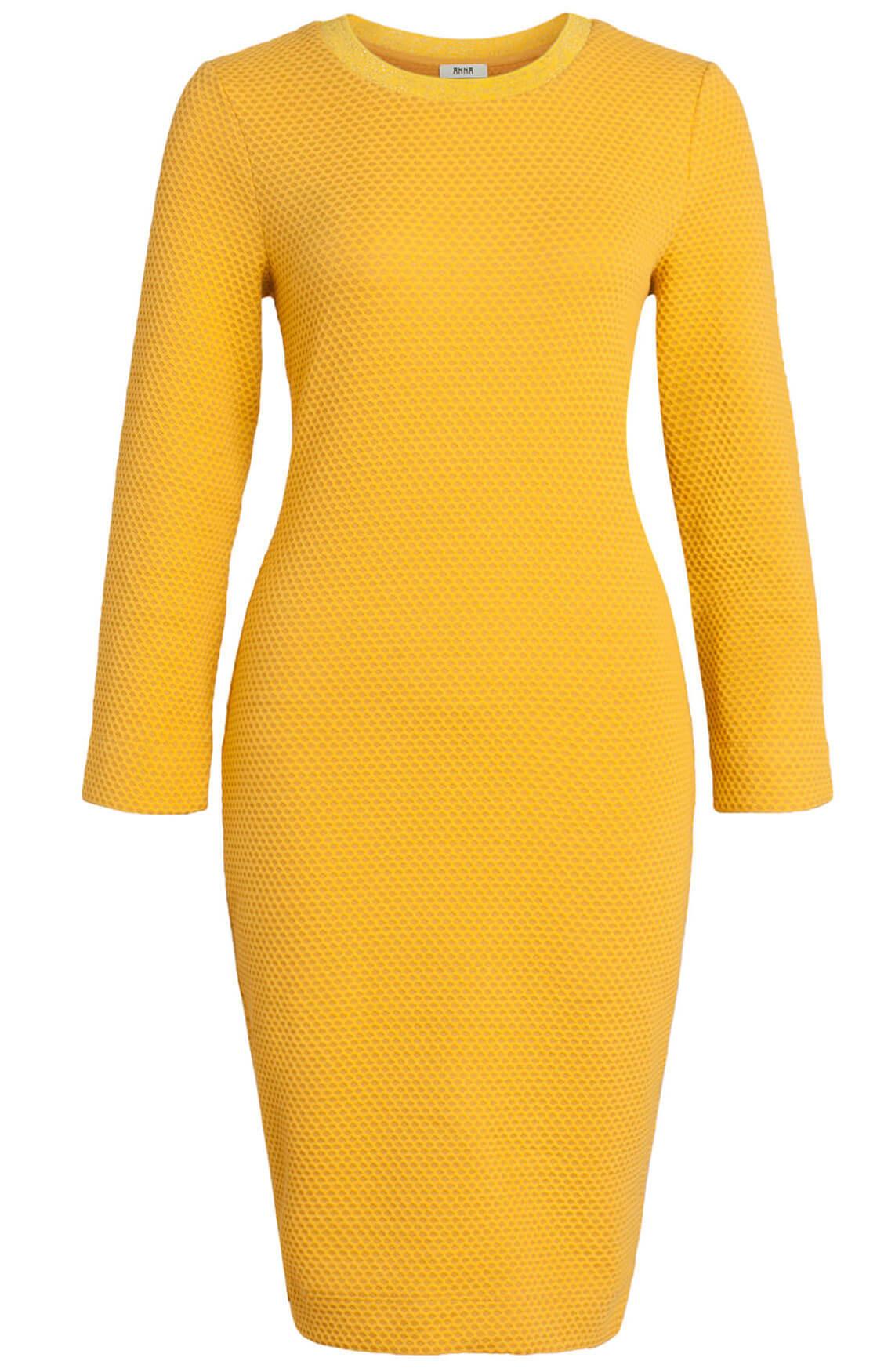 Anna Dames Structuur jurk geel