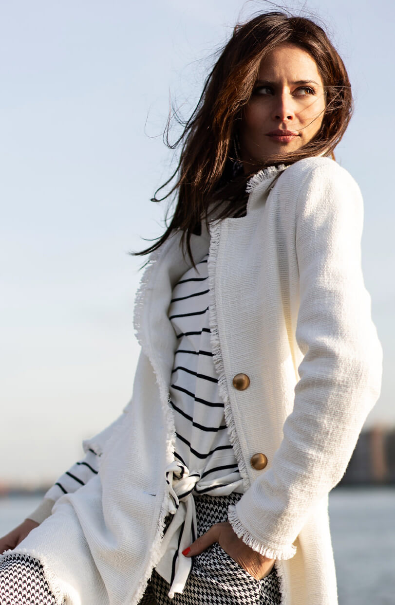 Anna Dames Gestreepte pullover wit